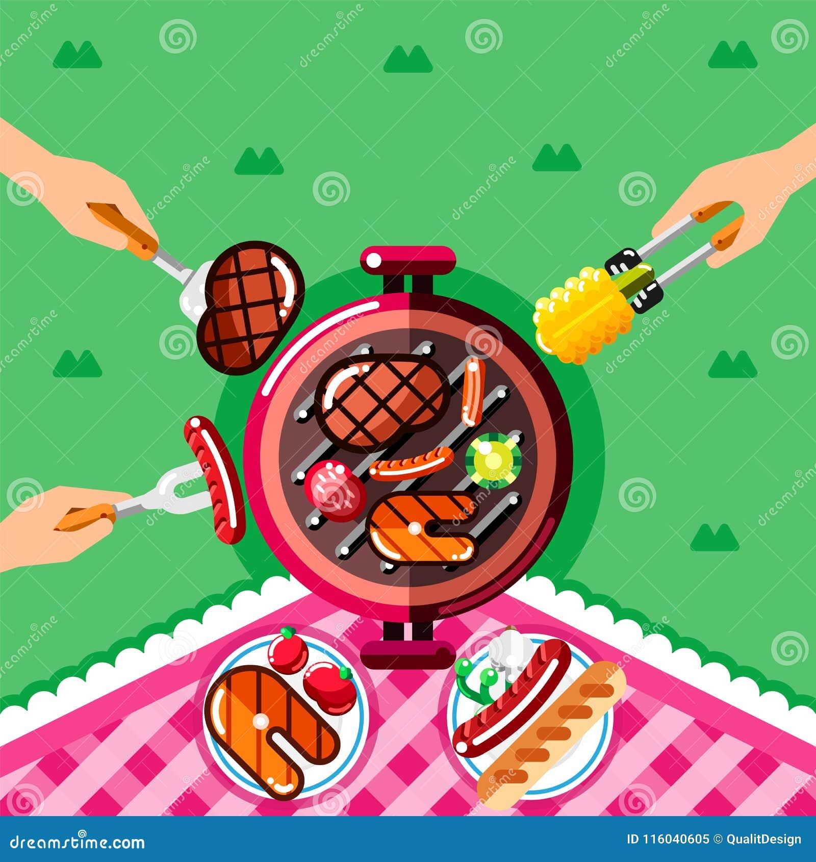 De picknick van de de zomerbarbecue, vectorillustratie Hoogste meningsbbq grill met lapje vlees en vissen en menselijke handen me