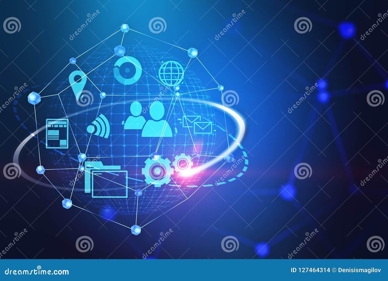De pictogrammen en het netwerk van Internet over blauwe achtergrond