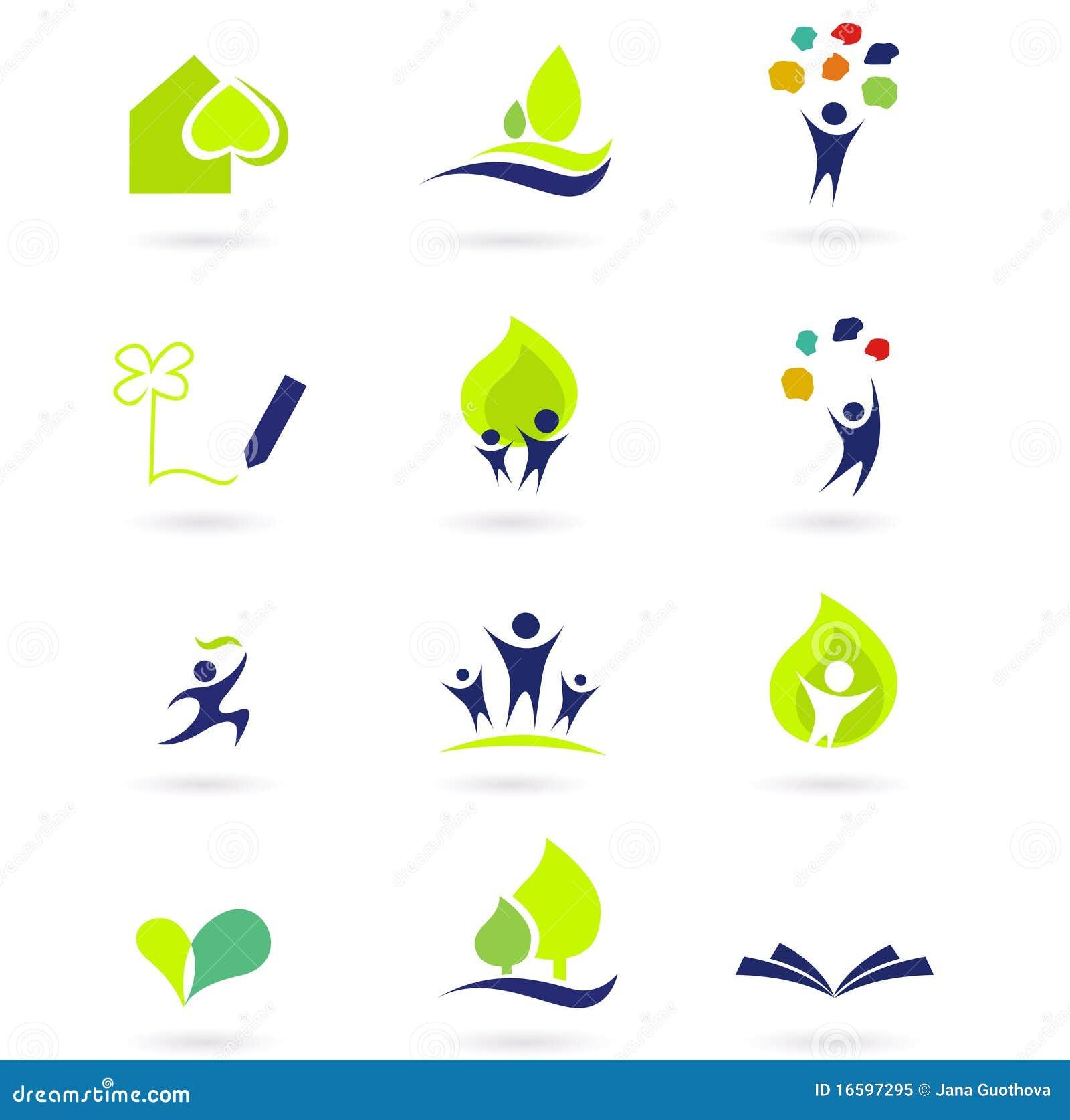 De pictogrammen van de aard, van de school en van het onderwijs