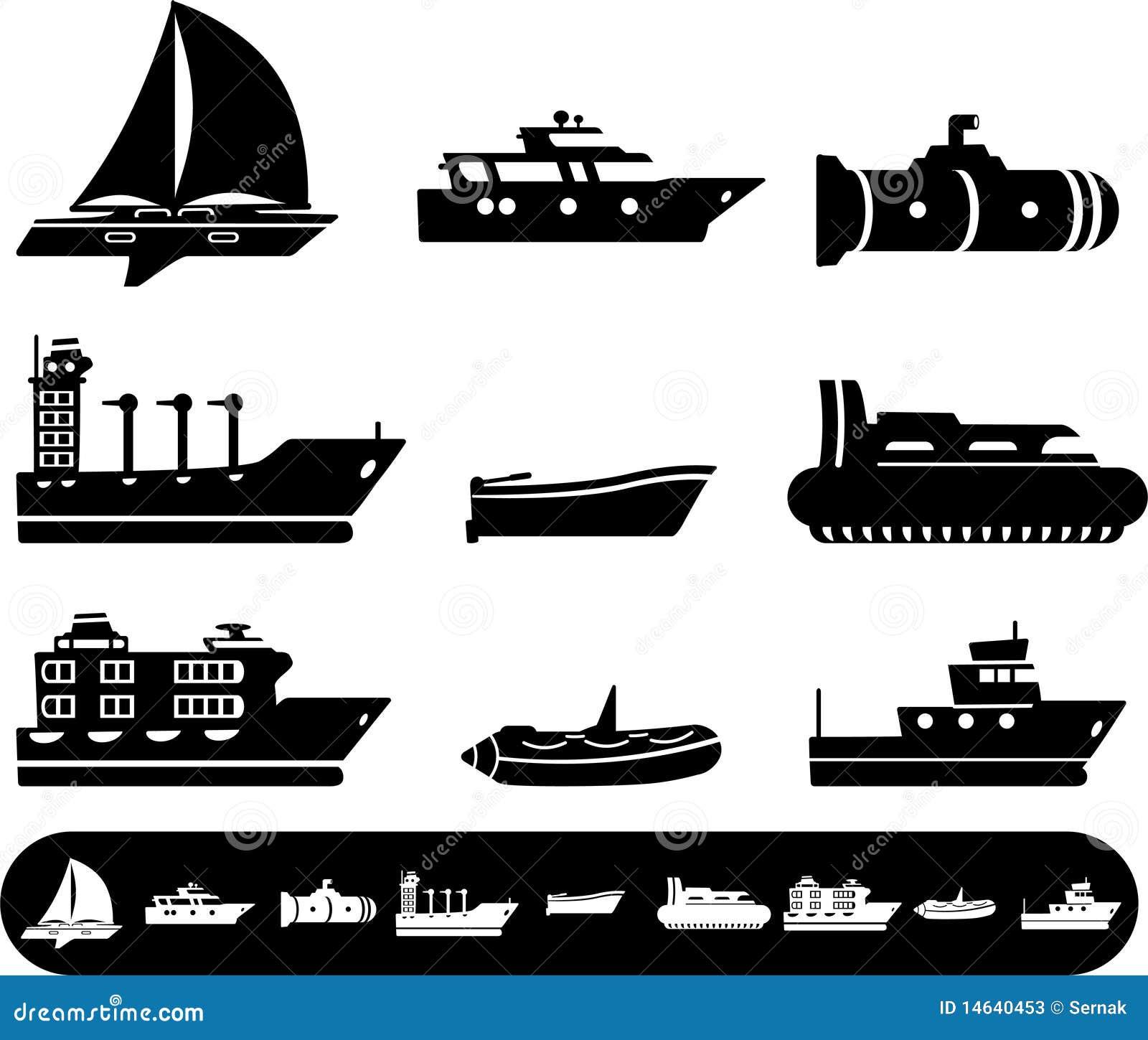 De Pictogrammen Van De Boot En Van Het Schip Stock Foto S