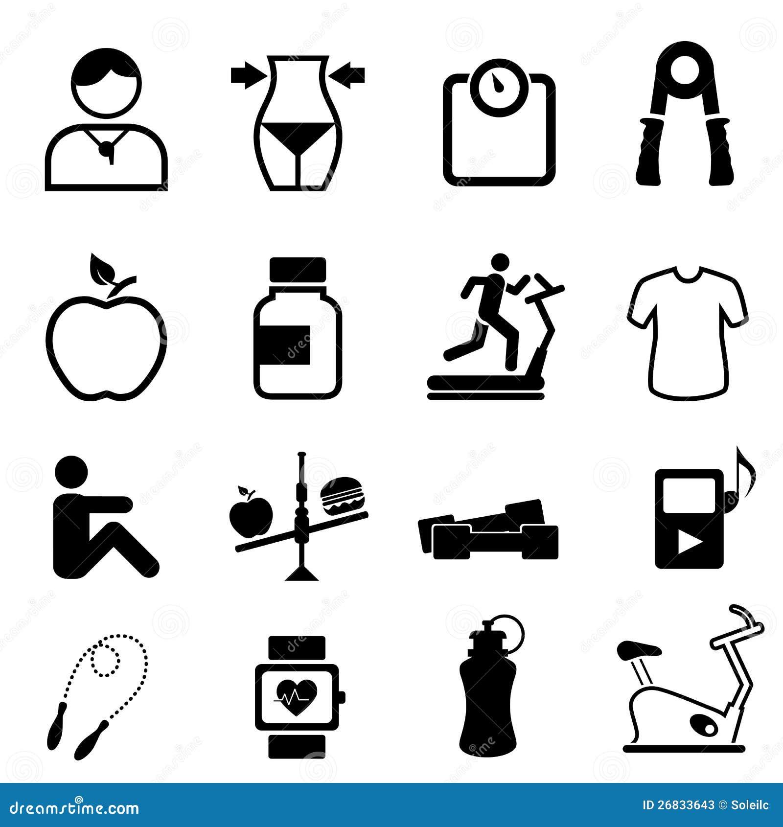 De pictogrammen van de gezondheid, van de geschiktheid en van het dieet