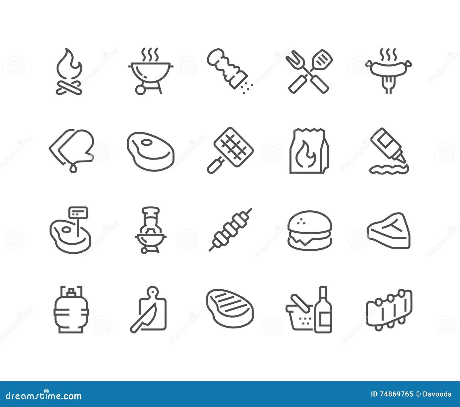 De Pictogrammen van de lijnbarbecue