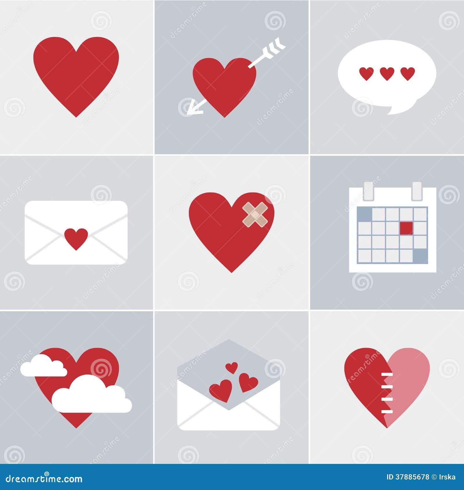 De pictogrammen van de postliefde