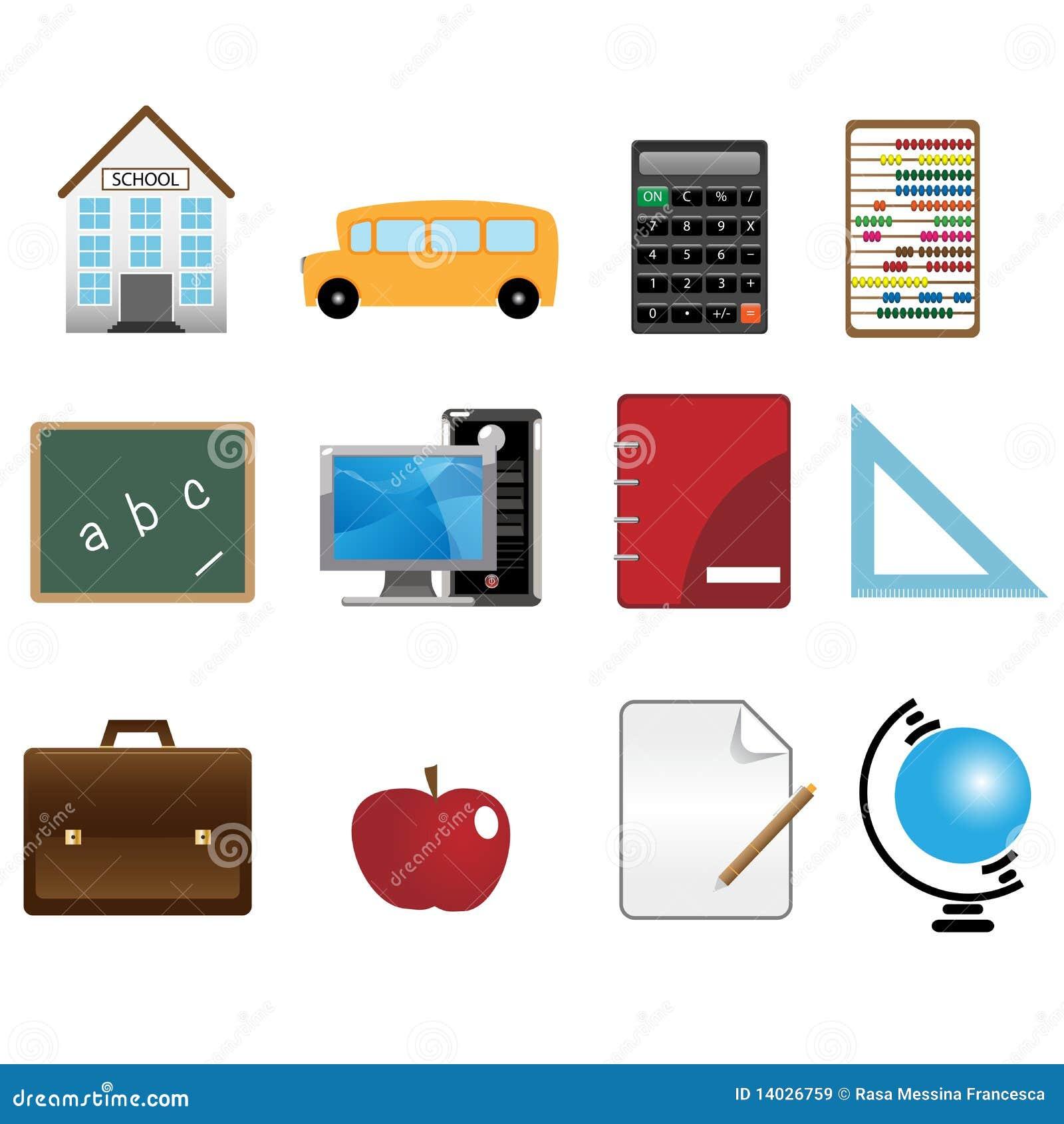 De pictogrammen van de school