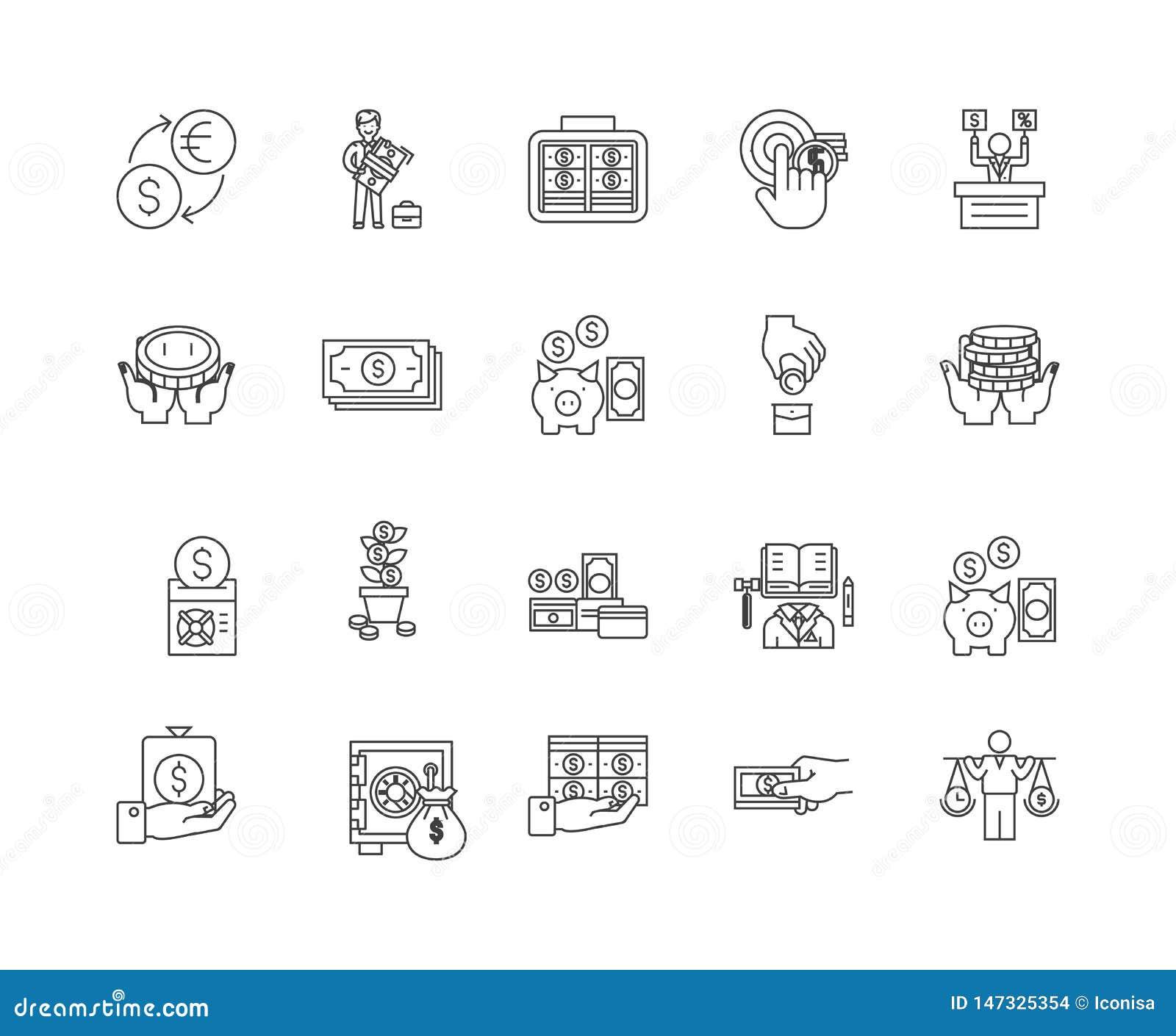 De pictogrammen van de financi?le transactieslijn, tekens, vectorreeks, het concept van de overzichtsillustratie