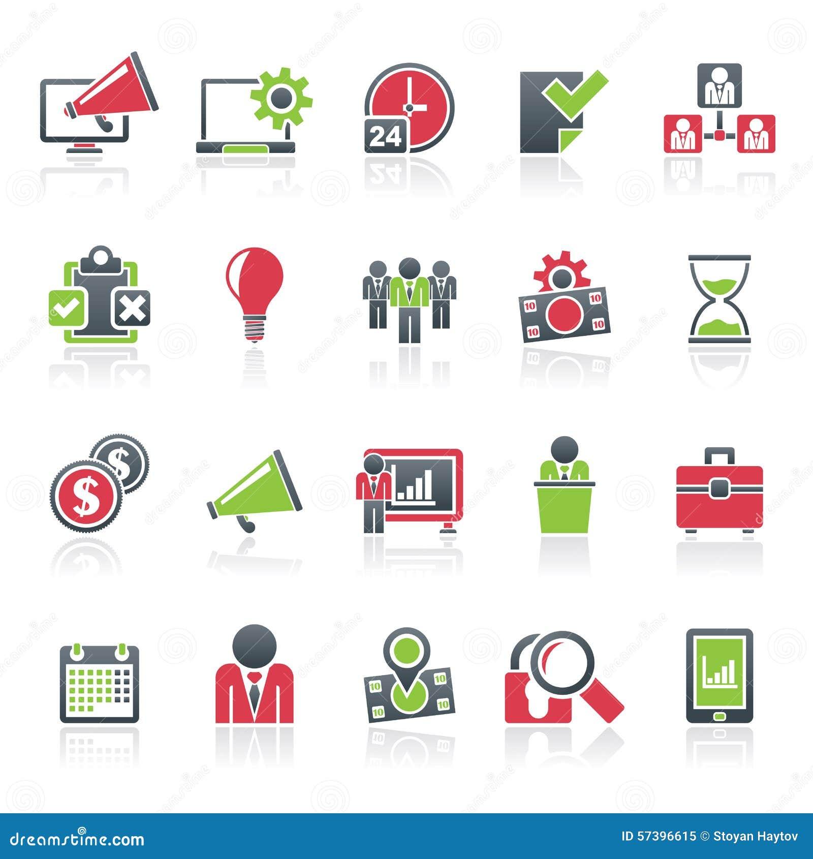De pictogrammen van het bedrijfseconomieconcept