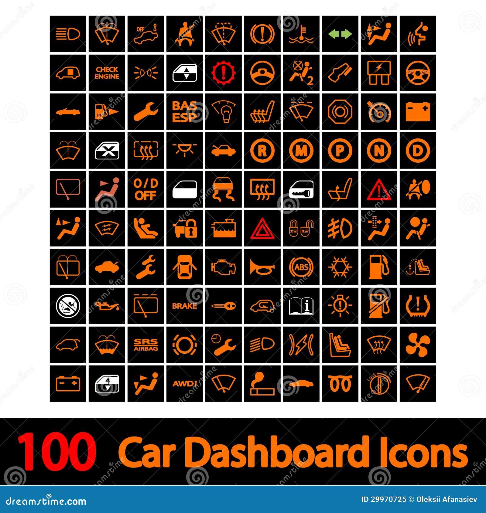 100 De Pictogrammen Van Het Dashboard Van De Auto Vector