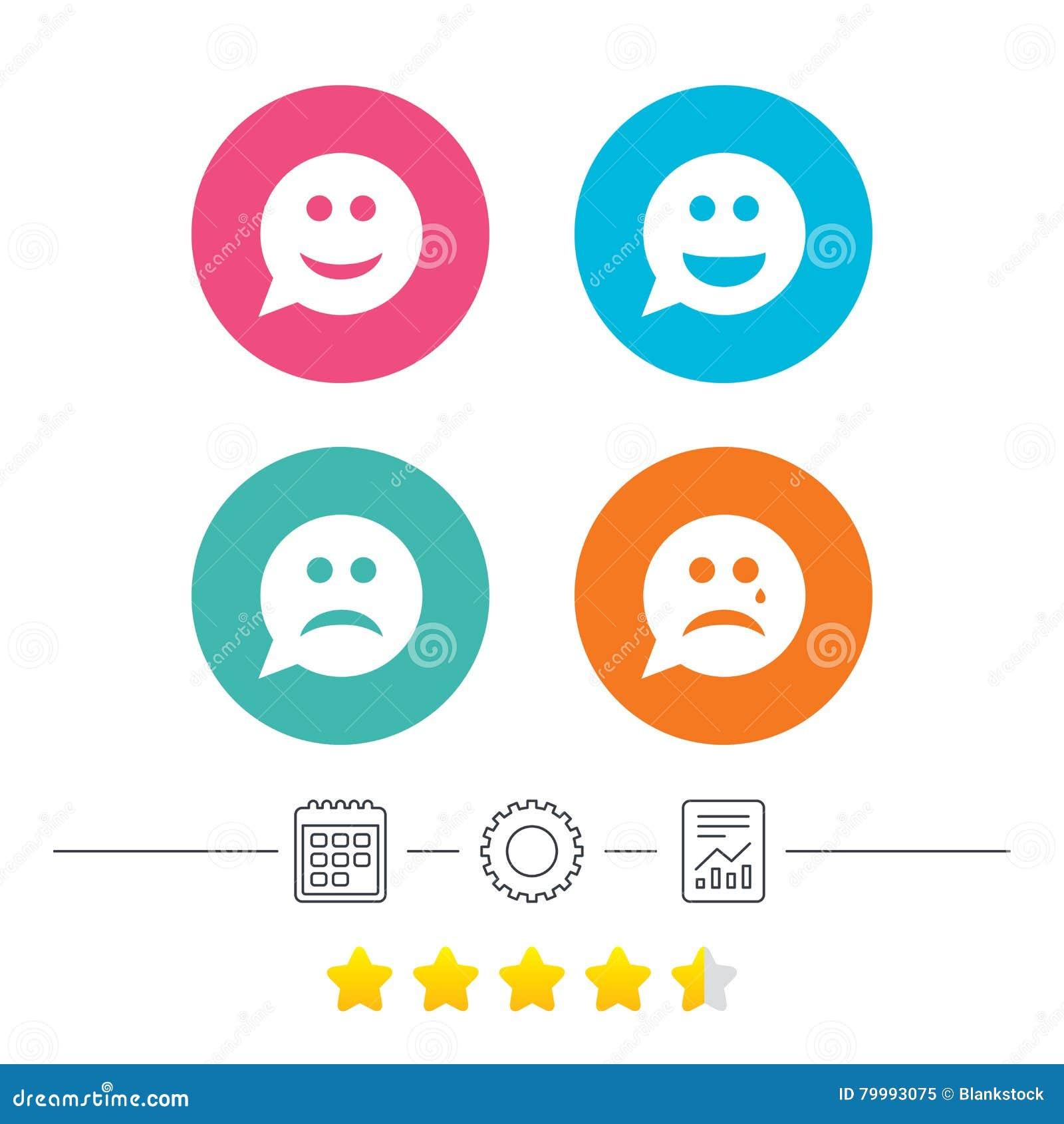 De pictogrammen van het de glimlachgezicht van de toespraakbel Gelukkig, droevig, schreeuw