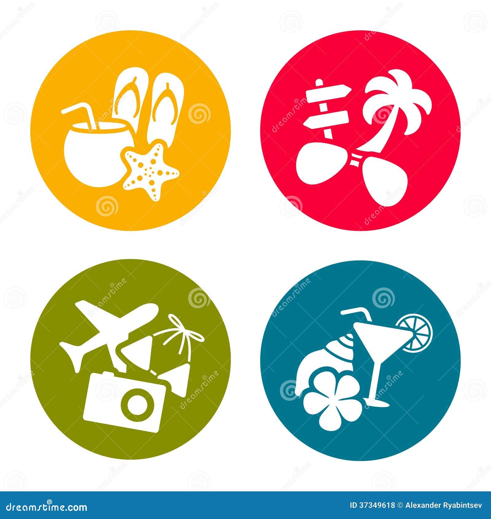 De pictogrammen van het de zomerthema