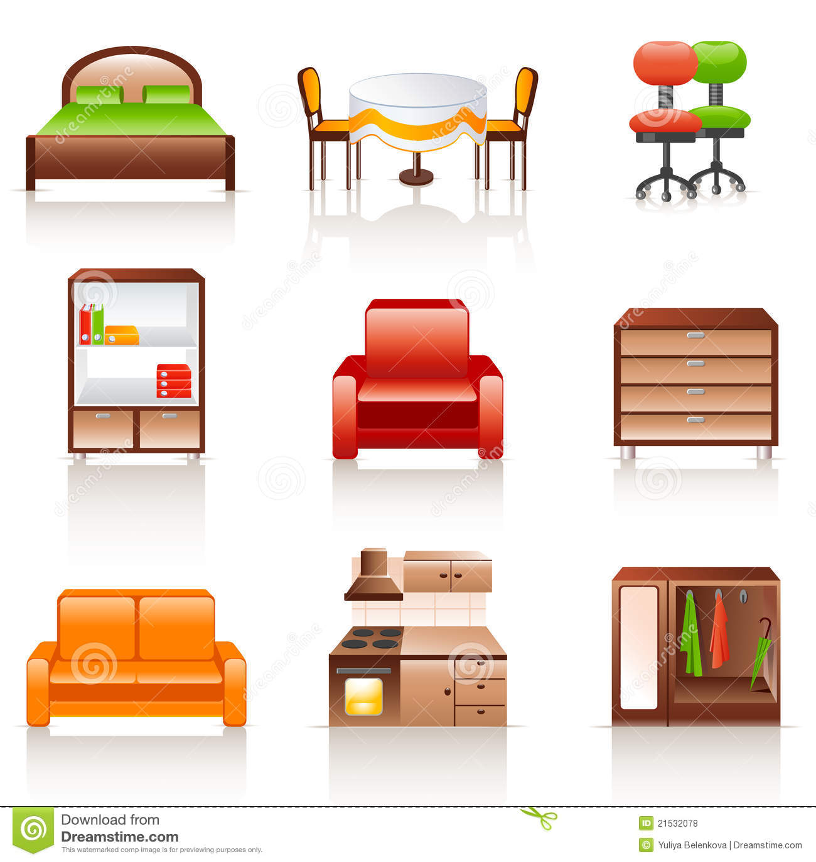De pictogrammen van het meubilair royalty vrije stock foto 39 s afbeelding 21532078 - Meubilair van binnenkomst grijs ...
