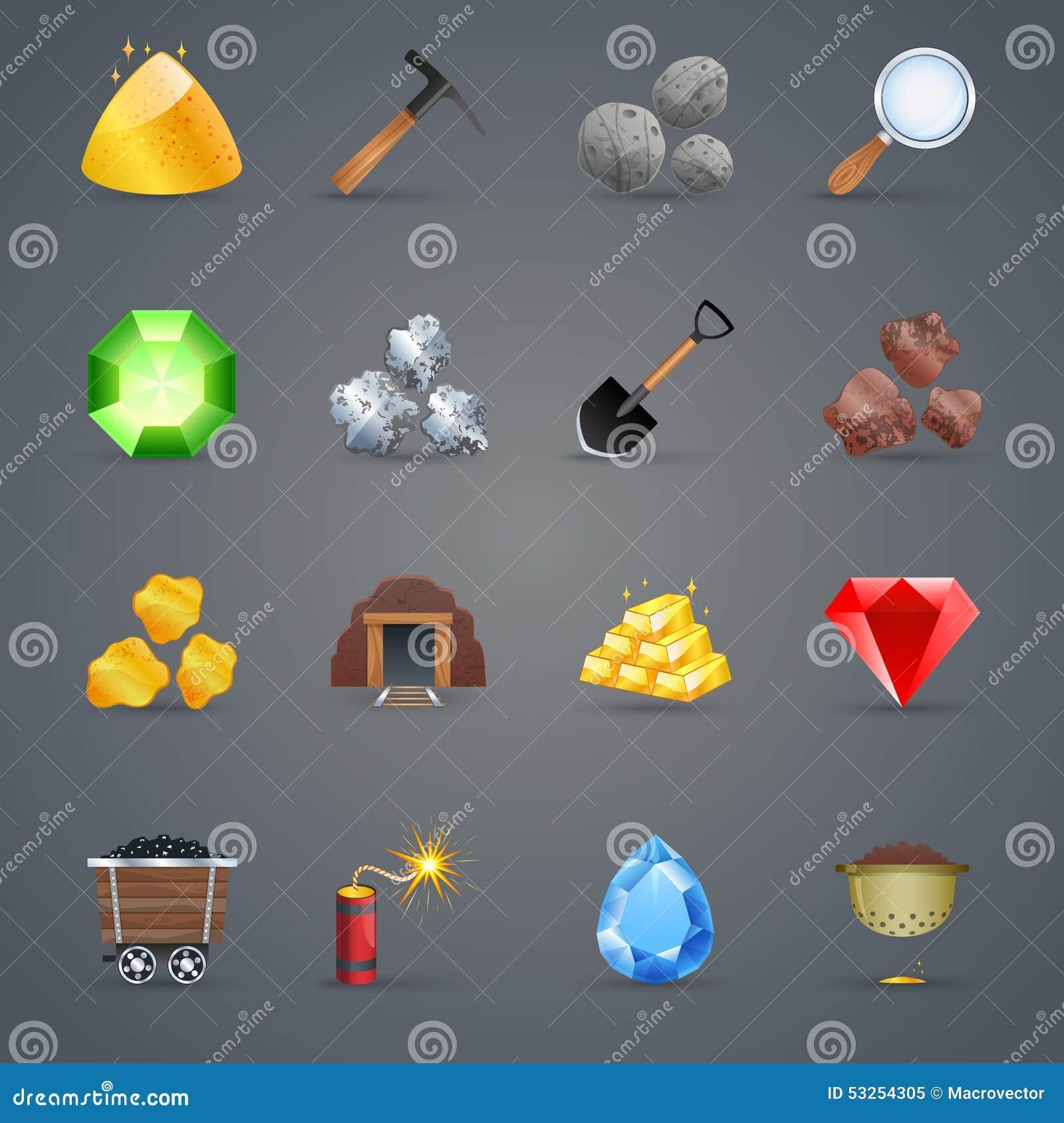 De Pictogrammen van het mijnbouwspel