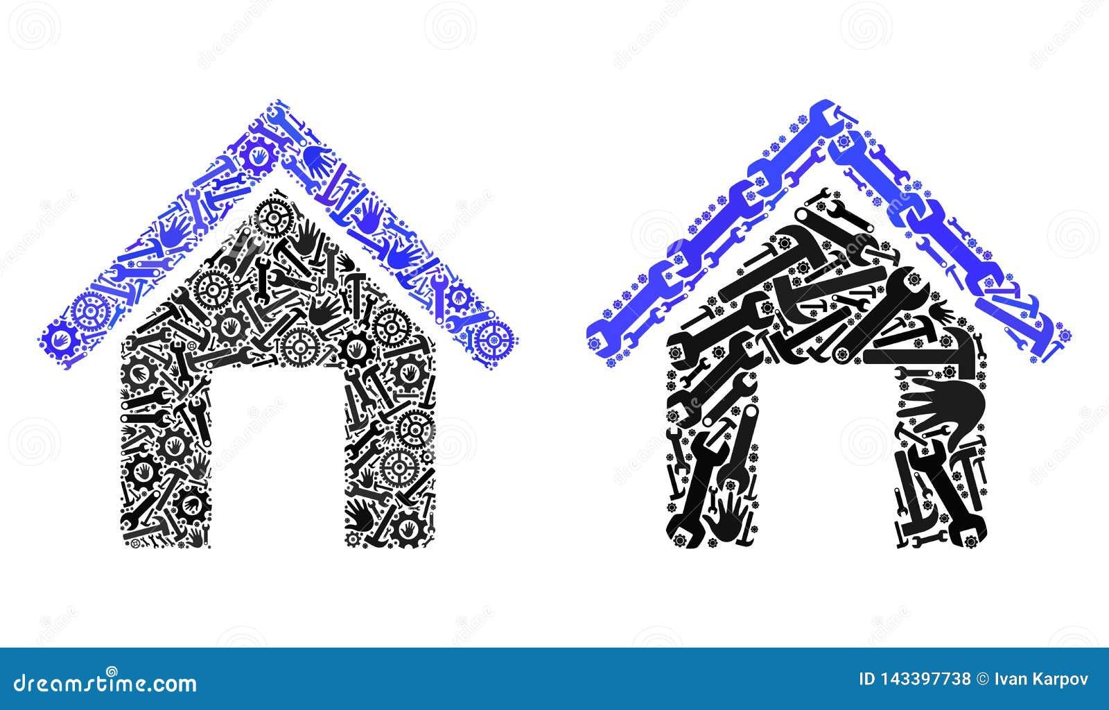 De Pictogrammen van het mozaïekhuis van Reparatiehulpmiddelen