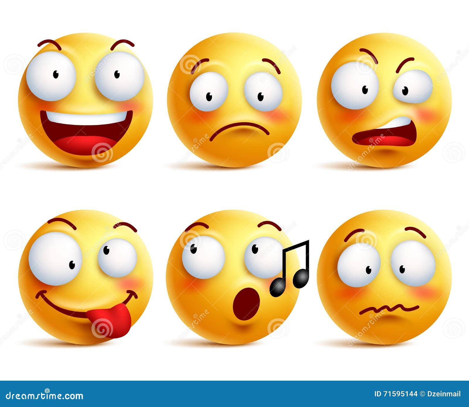 De pictogrammen van het Smileygezicht of emoticons met reeks verschillende gelaatsuitdrukkingen