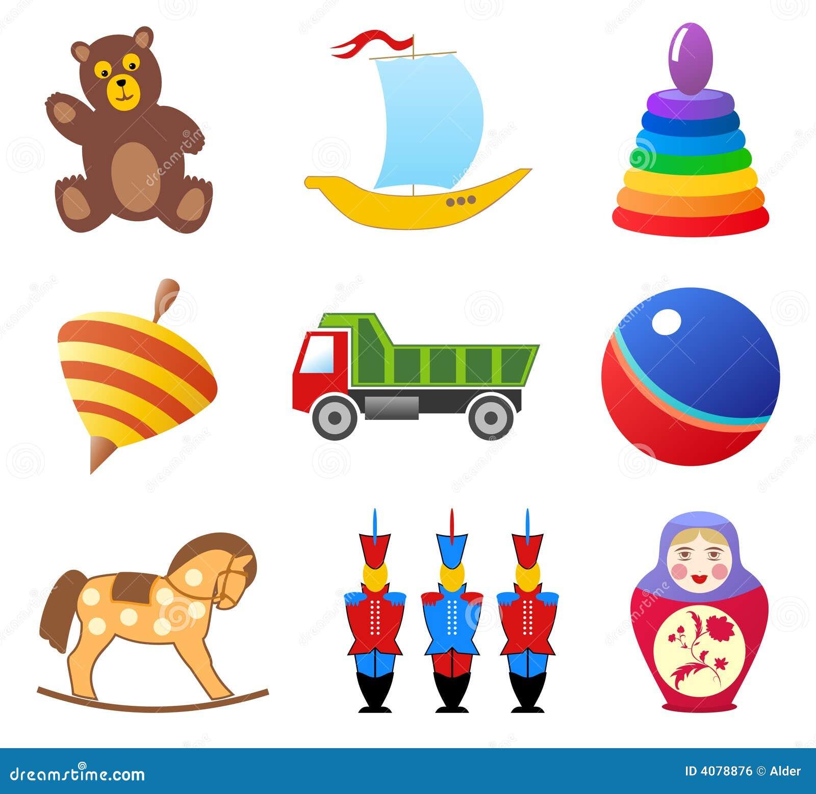 De pictogrammen van het speelgoed