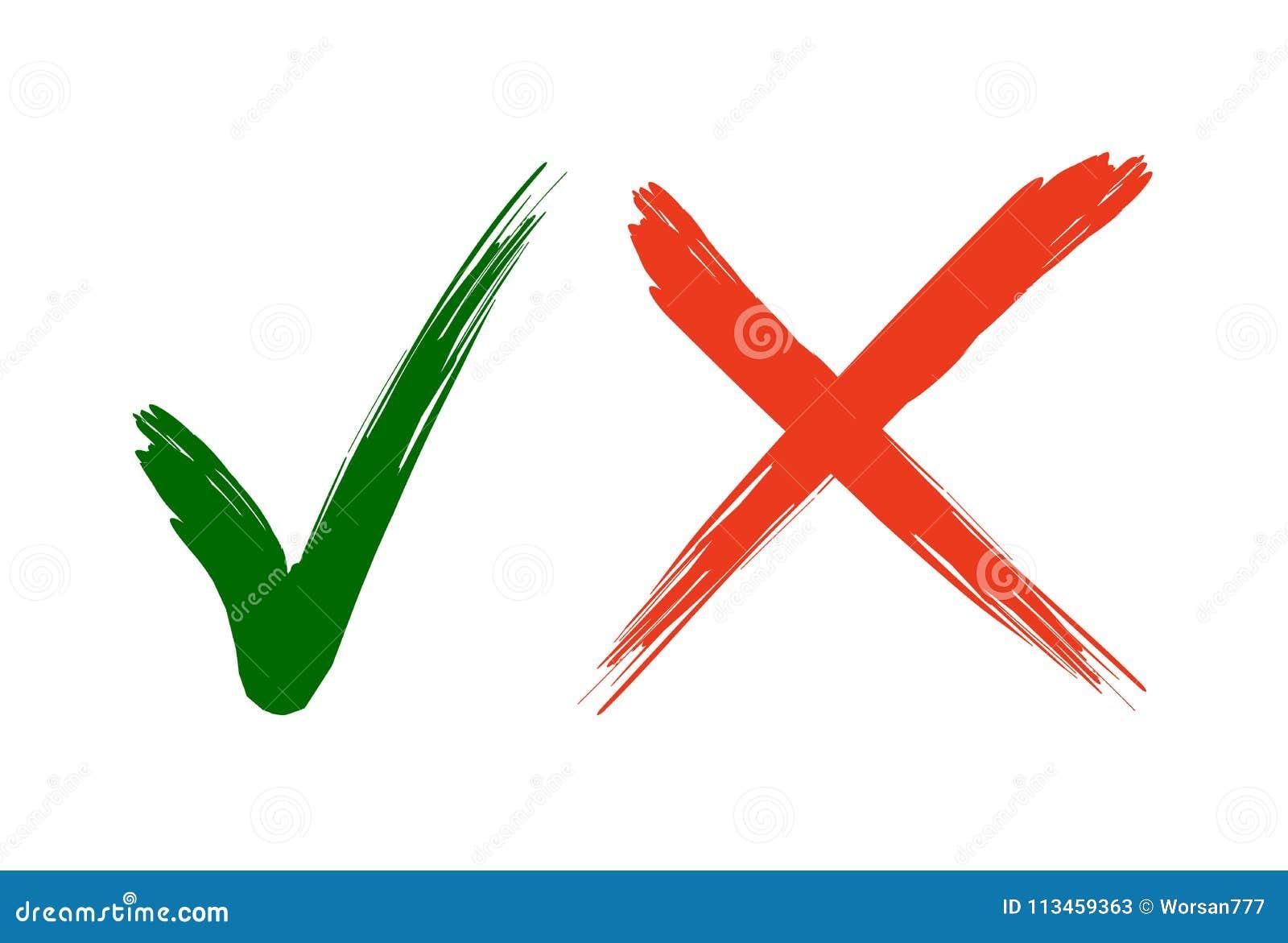 De Pictogrammen van het vinkje Groene tik en rood kruiscontroletekens in twee varianten