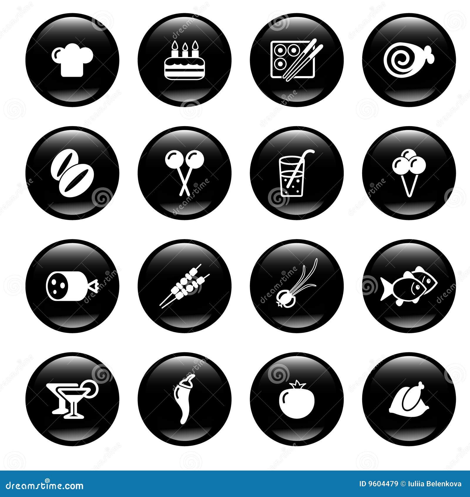 De pictogrammen van het voedsel