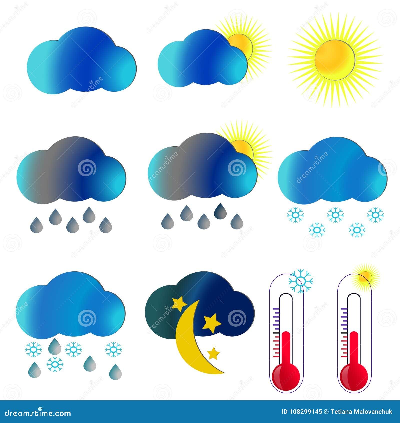 De pictogrammen van het weer Illustratieweer