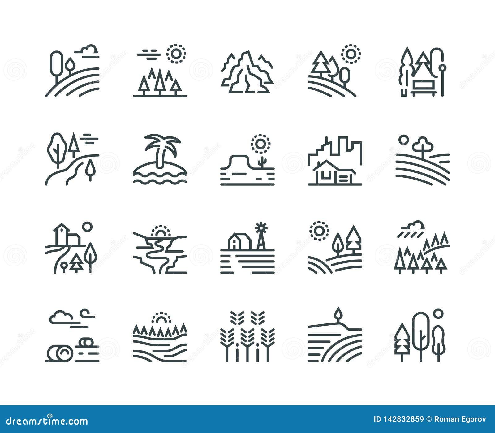 De pictogrammen van de landschapslijn Van de de bergheuvel van het aardpark bomen en het platteland tuinieren de bos, industriële