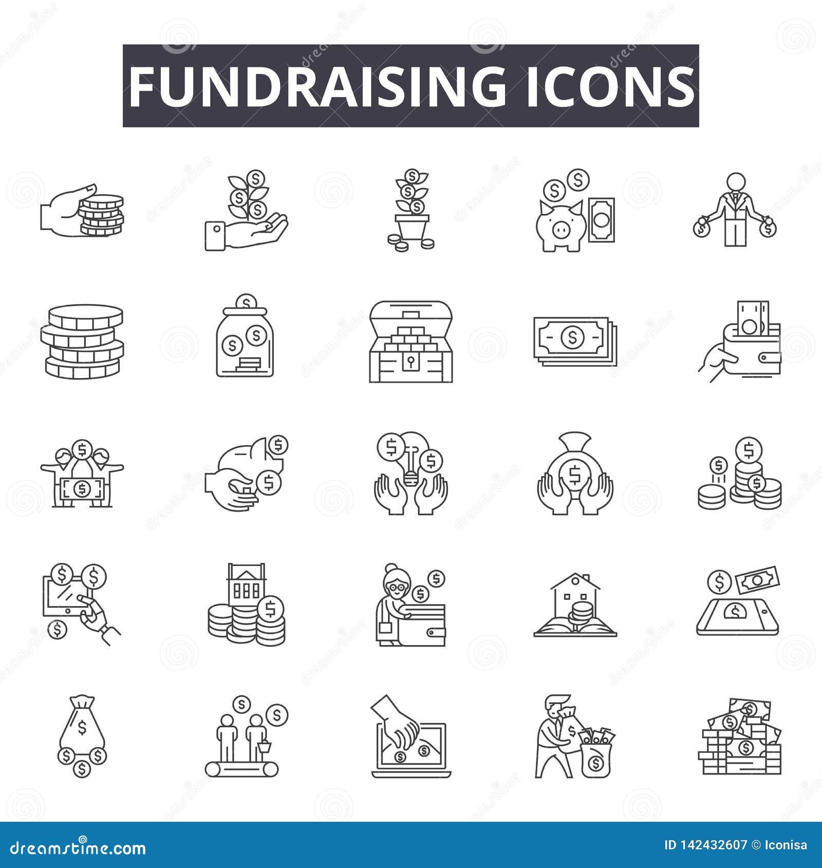 De pictogrammen van de liefdadigheidsinstellingslijn voor Web en mobiel ontwerp De tekens van de Editableslag Het conceptenillust