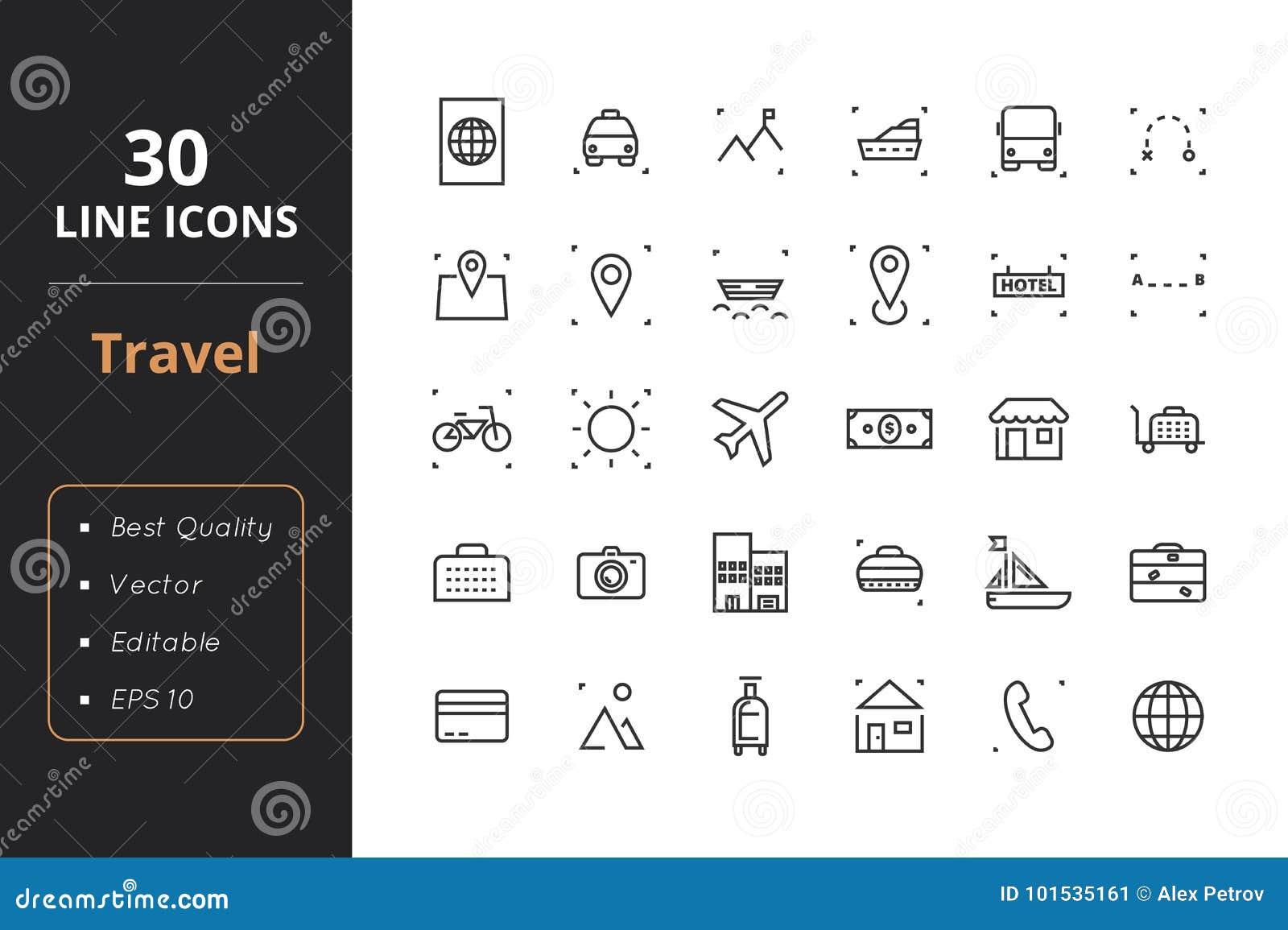 30 de Pictogrammen van de reislijn
