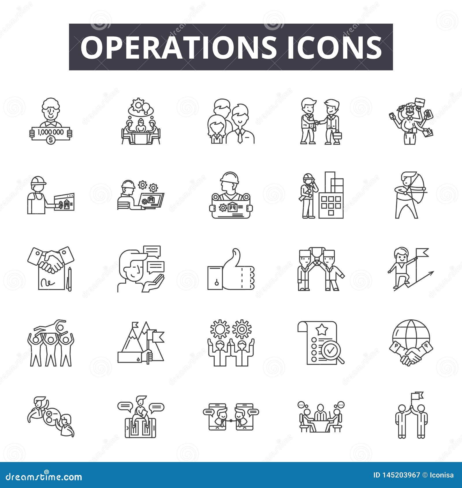 De pictogrammen van de verrichtingenlijn, tekens, vectorreeks, het concept van de overzichtsillustratie