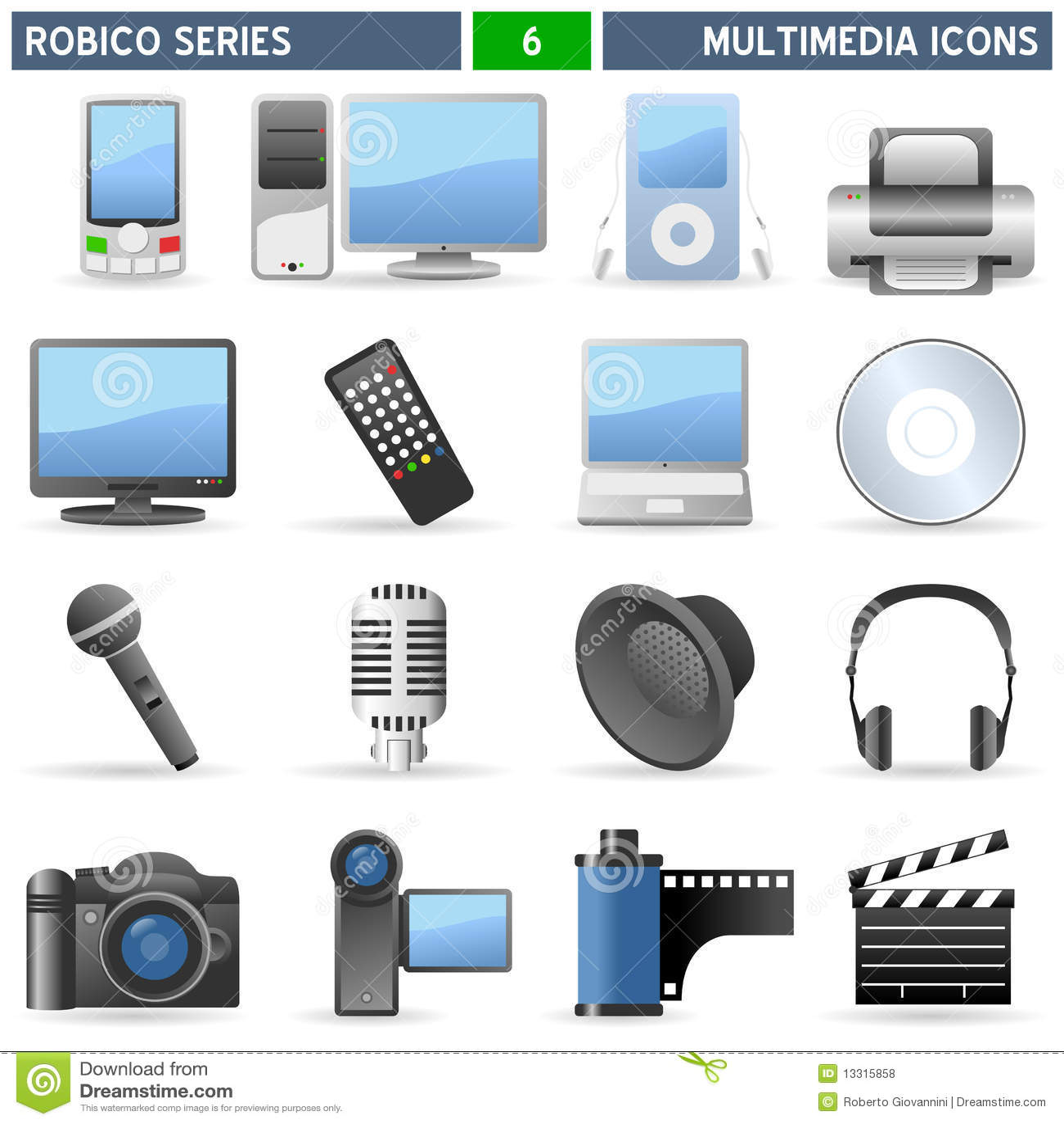De Pictogrammen van verschillende media - Reeks Robico