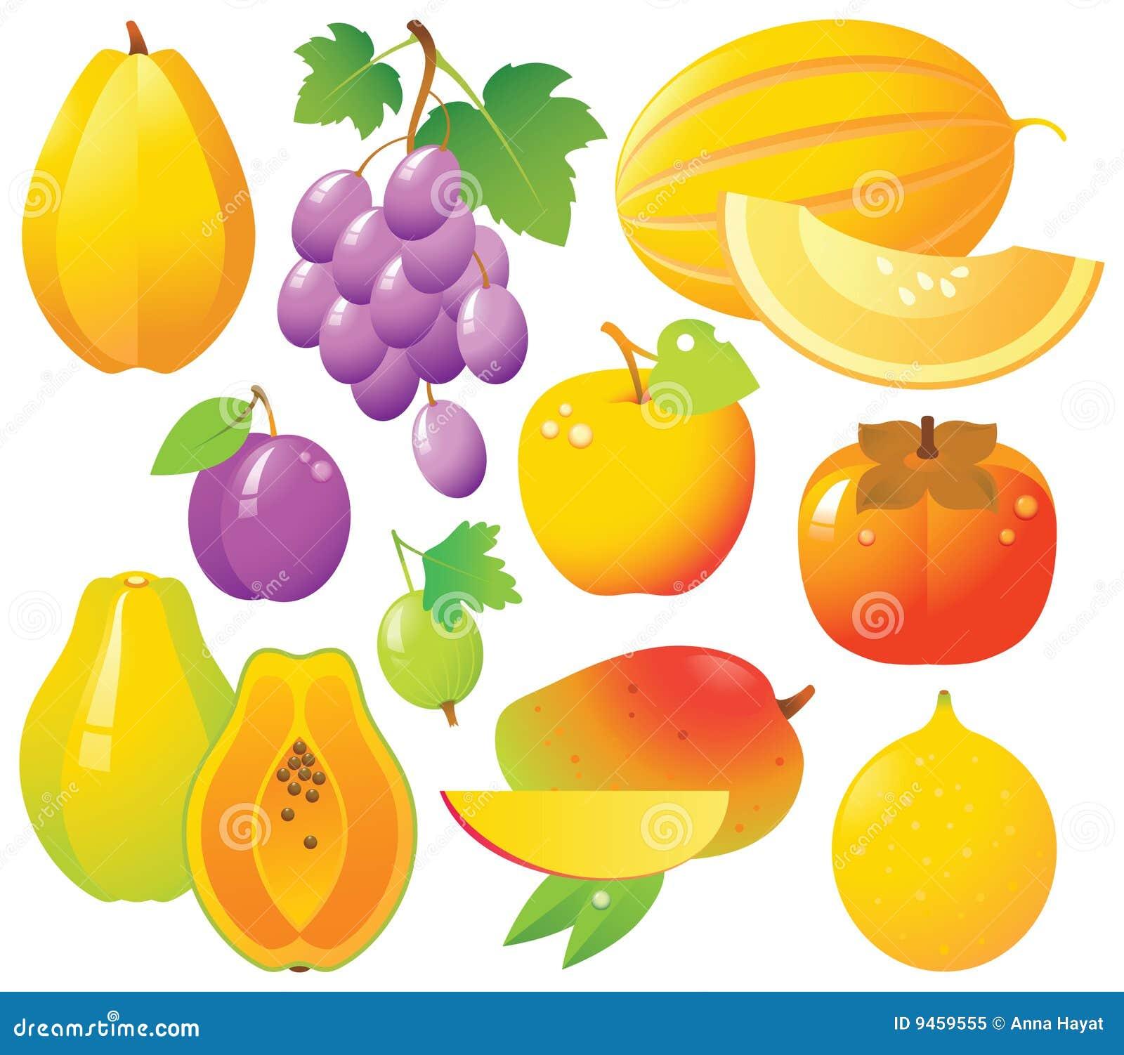 De Pictogrammen van verse Vruchten