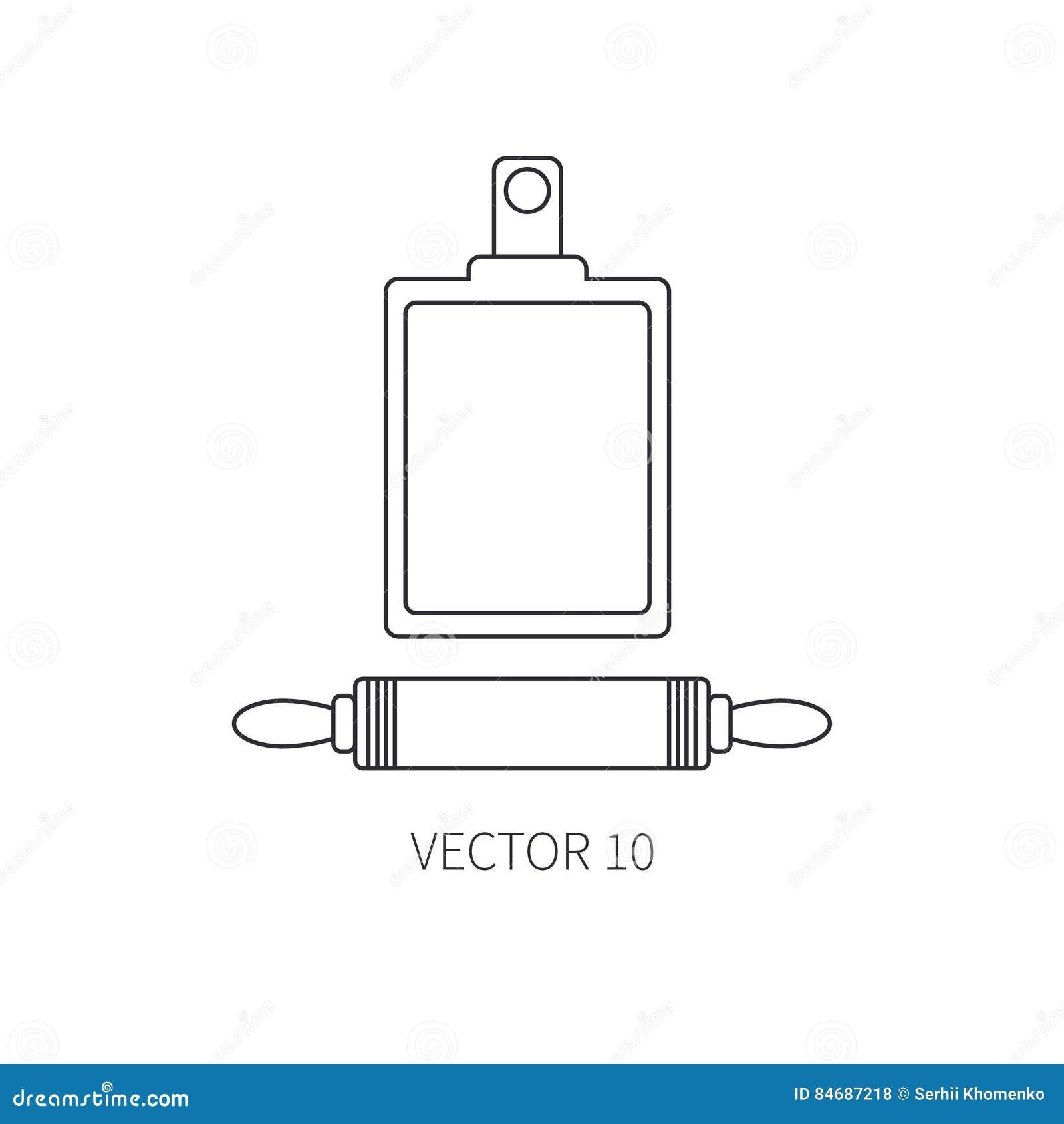 De pictogrammenduiker van het lijn vlakke vectorkeukengerei, scherpe raad Bestekhulpmiddelen De stijl van het beeldverhaal Illust