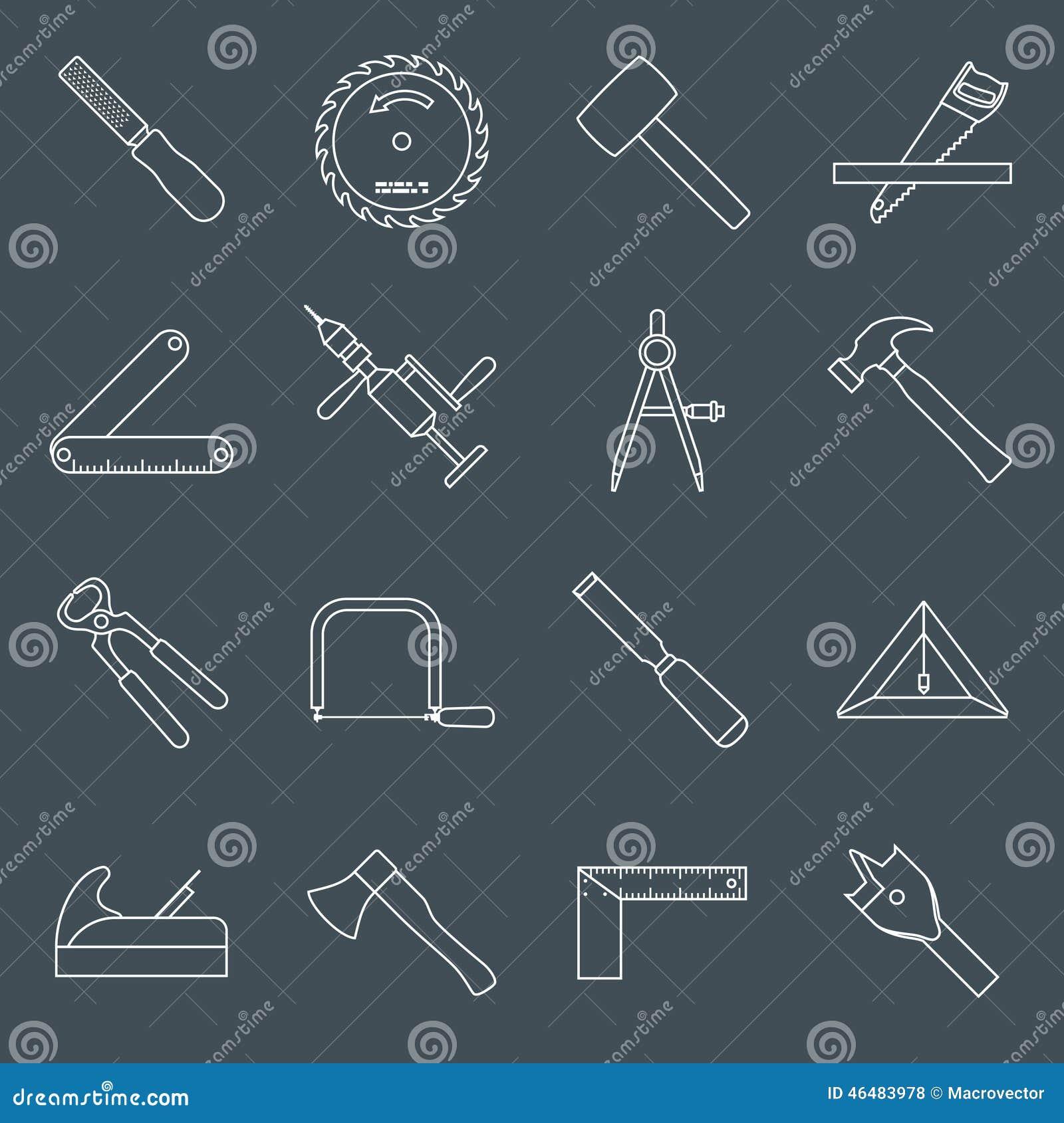 De pictogrammenoverzicht van timmerwerkhulpmiddelen