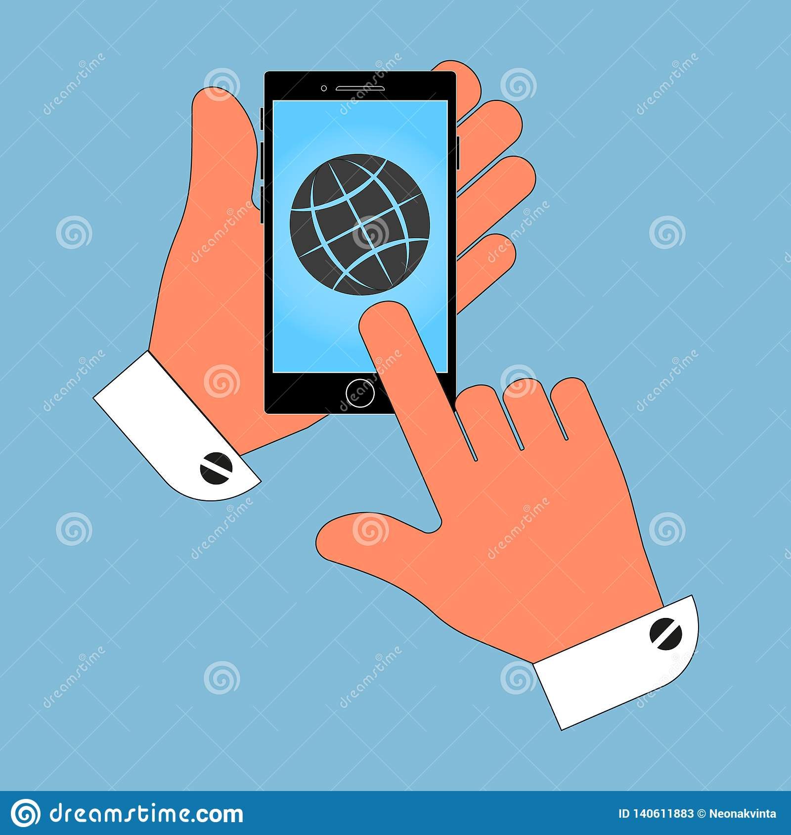 De pictogramtelefoon in zijn hand op de het schermbol isoleert op een blauwe achtergrond