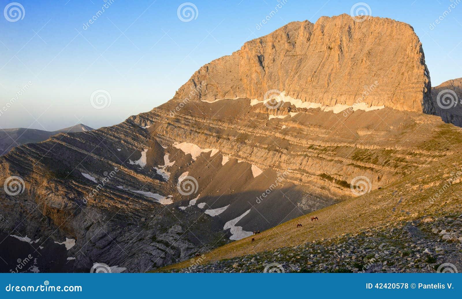 De piek van bergolympus Stefani in Griekenland