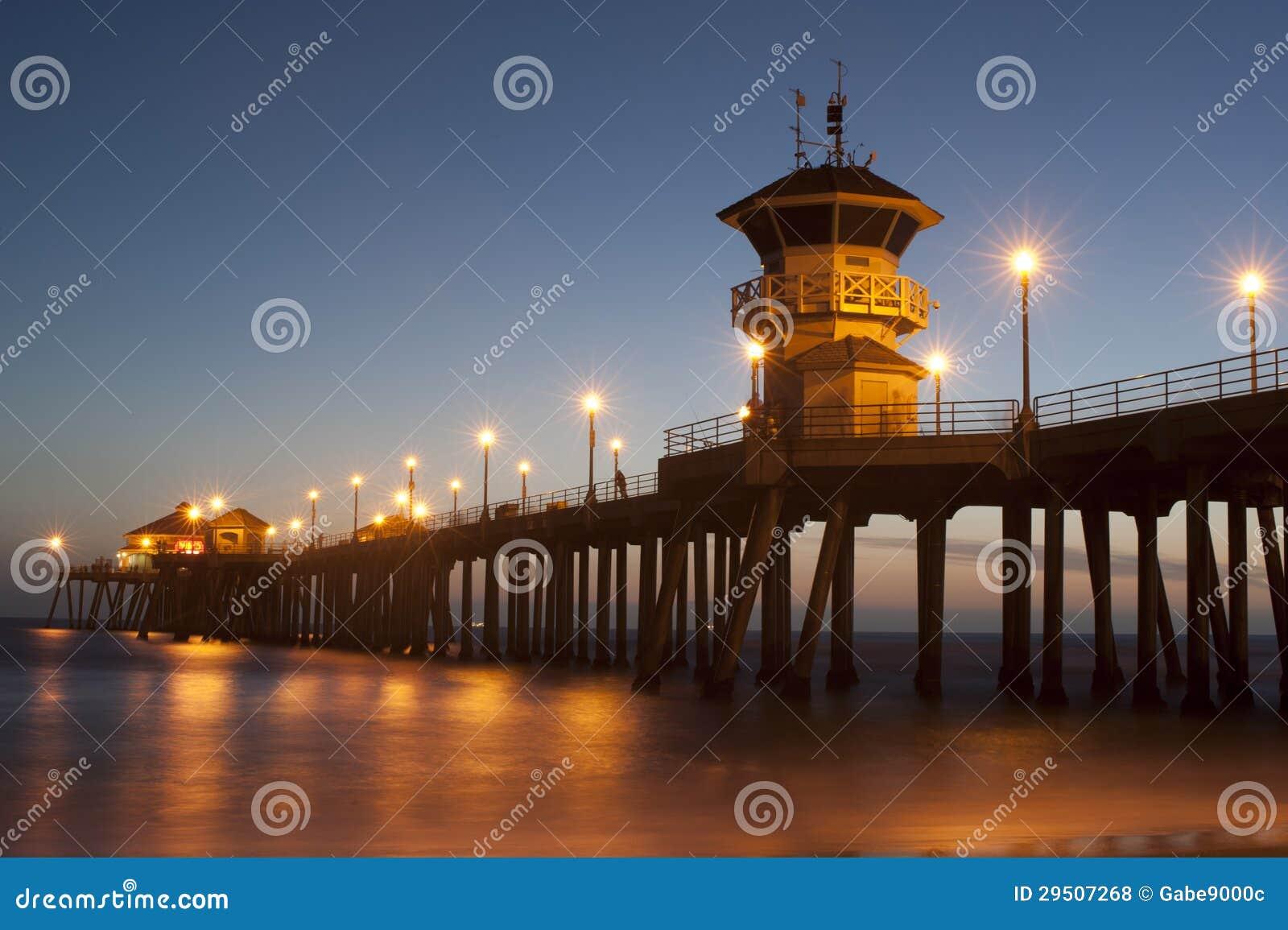 De pijlerschemering van het Strand van Huntington