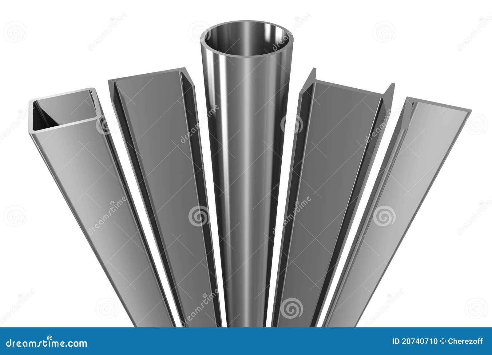 De pijp van het metaal, balken, hoeken, kanalen en vierkant t