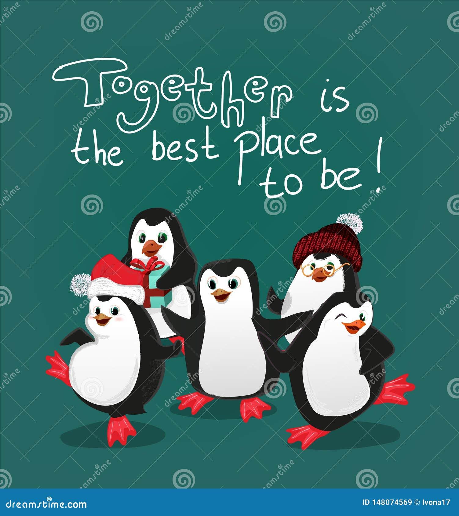 De pinguïn met de kaartvector van vriendenkerstmis samen is de beste plaats om te zijn