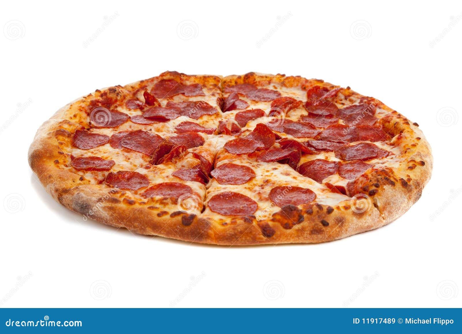 De pizza van pepperonis op wit