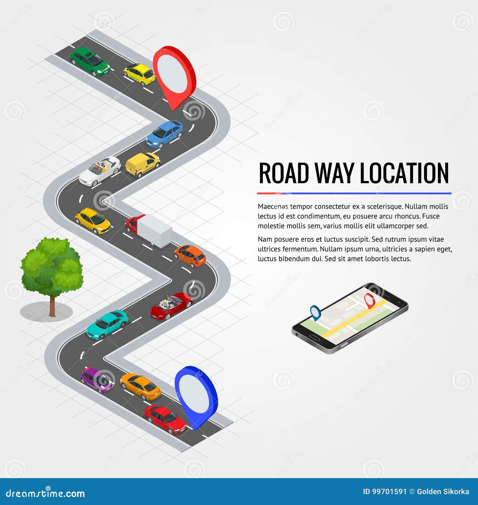 De plaats van de wegmanier en Mobiele gps navigatie Vlakke isometrische hoogte - het vervoer van de kwaliteitsstad