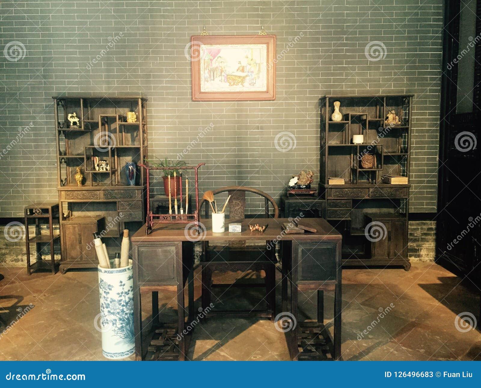 De plaats waar oude Chinees boeken, de fijne architecturale stijl leest