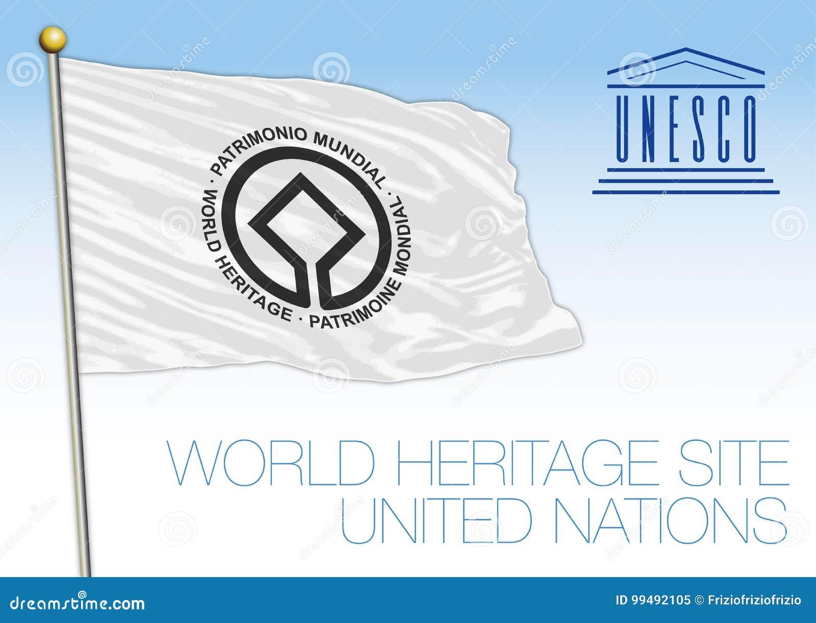 De Plaatsvlag van de werelderfenis, Unesco, de organisatie van de Verenigde Naties
