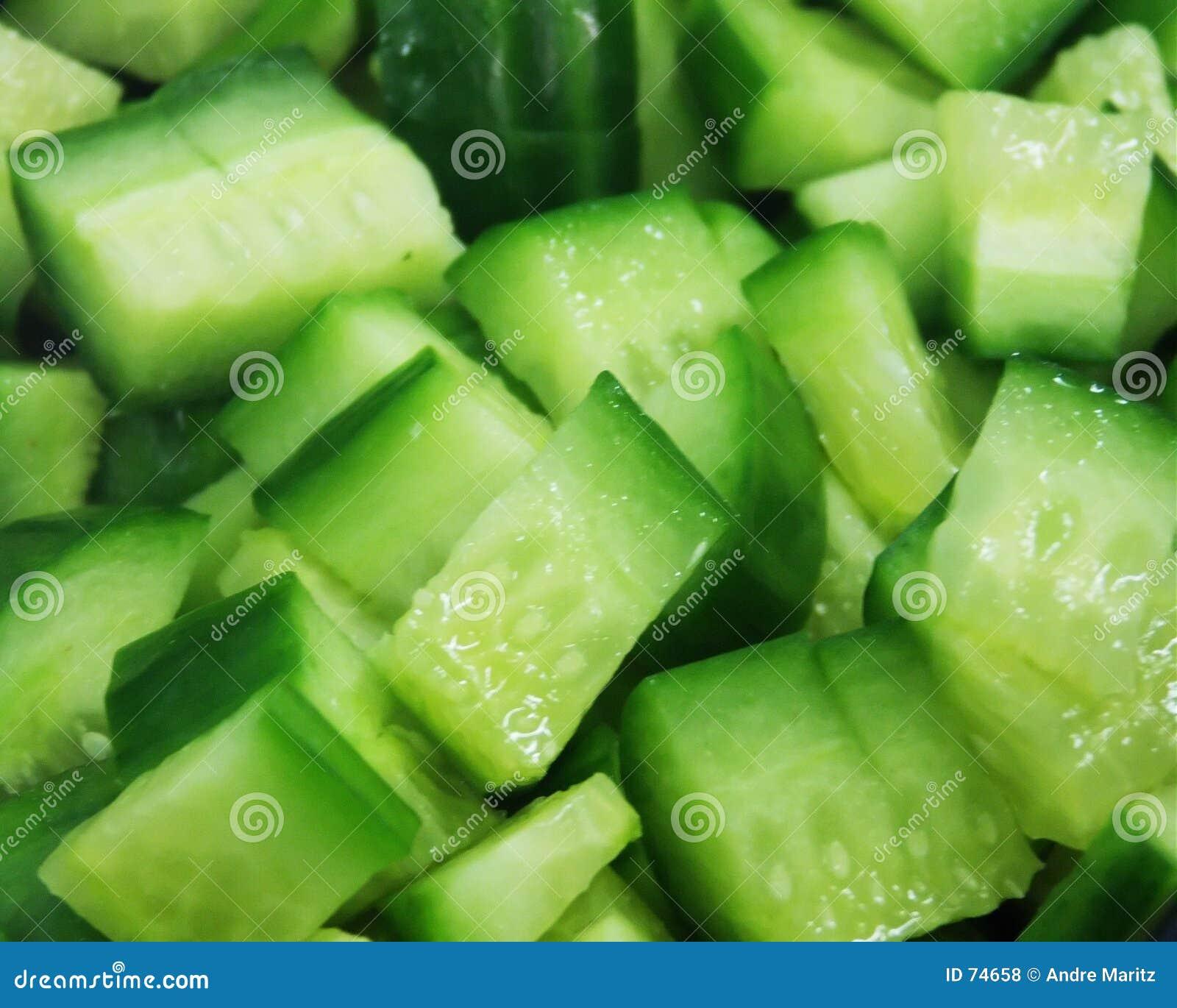 De plakken van de komkommer