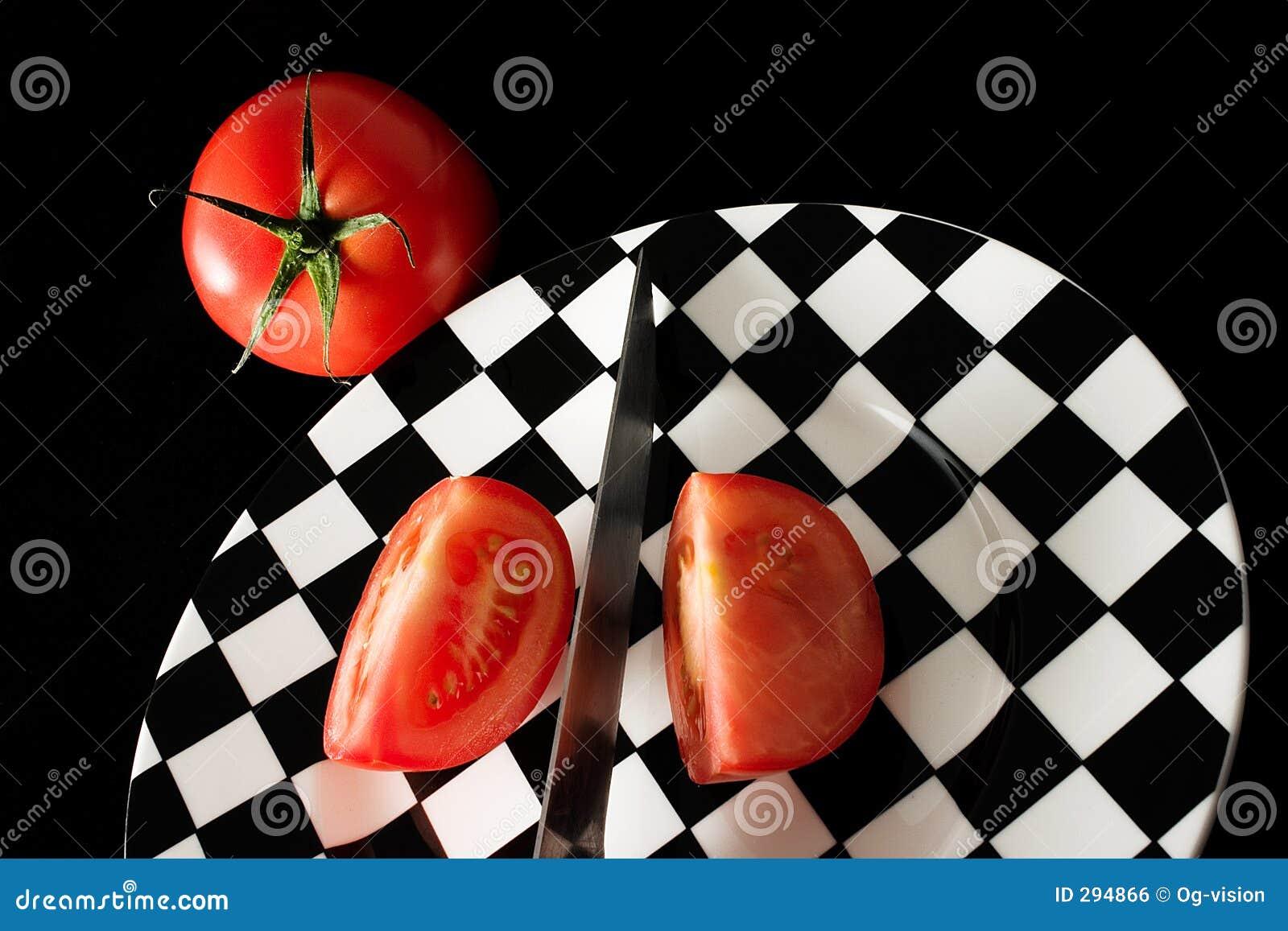De plakken van de tomaat