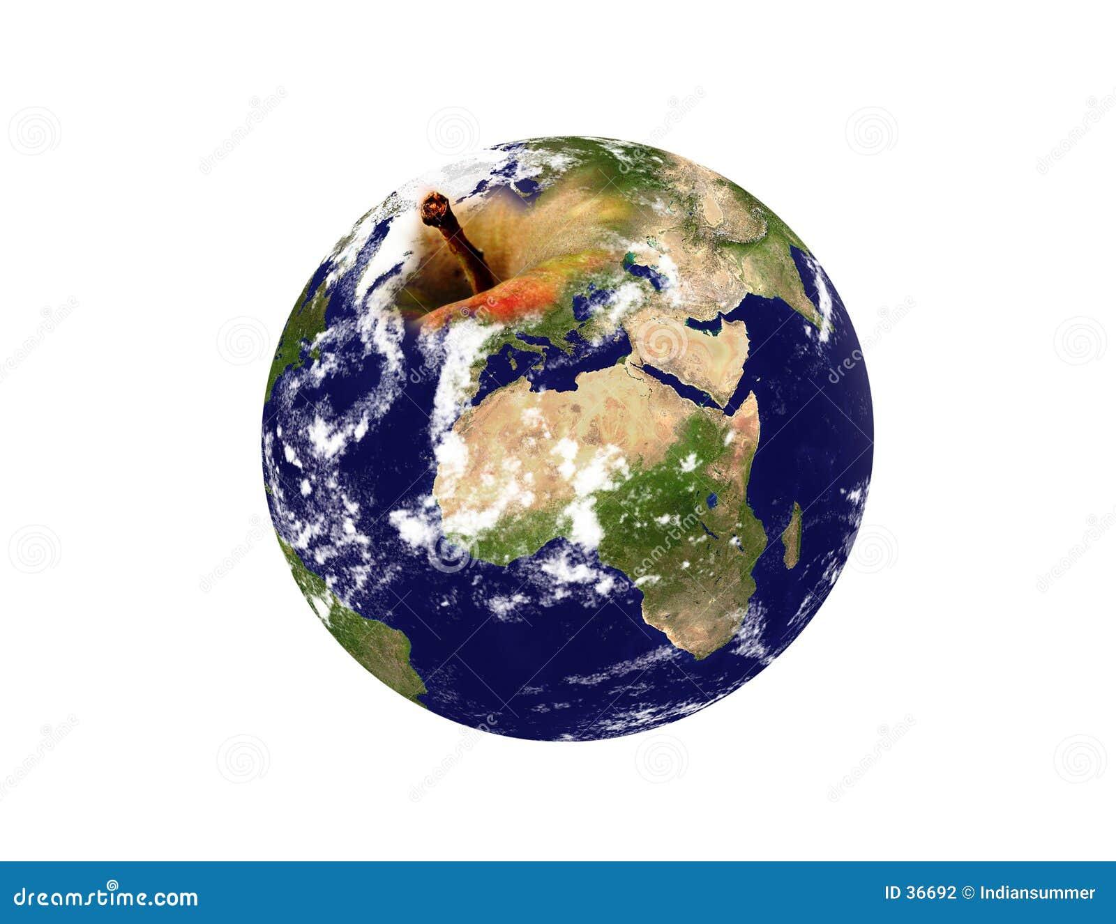 De planeet van de aarde een appel