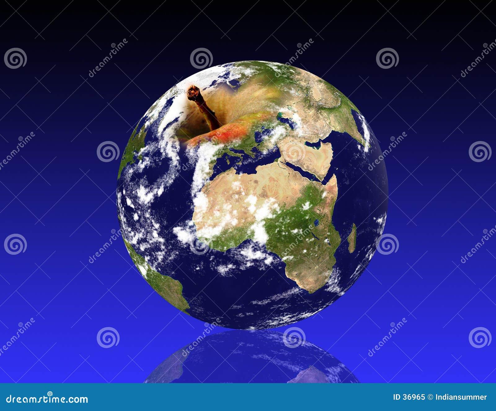 De planeet van de aarde, zoals een appel