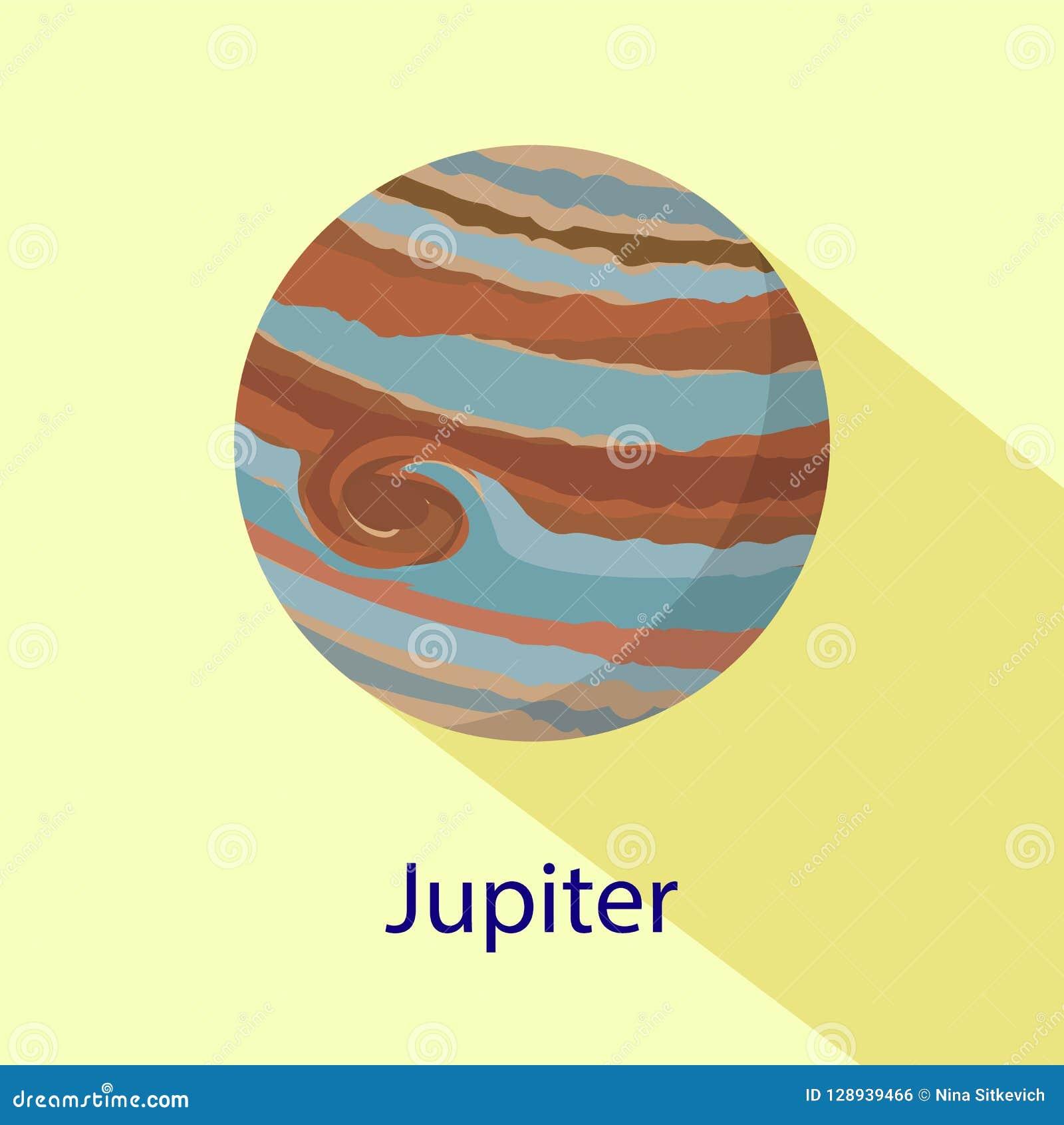 De planeetpictogram van Jupiter, vlakke stijl