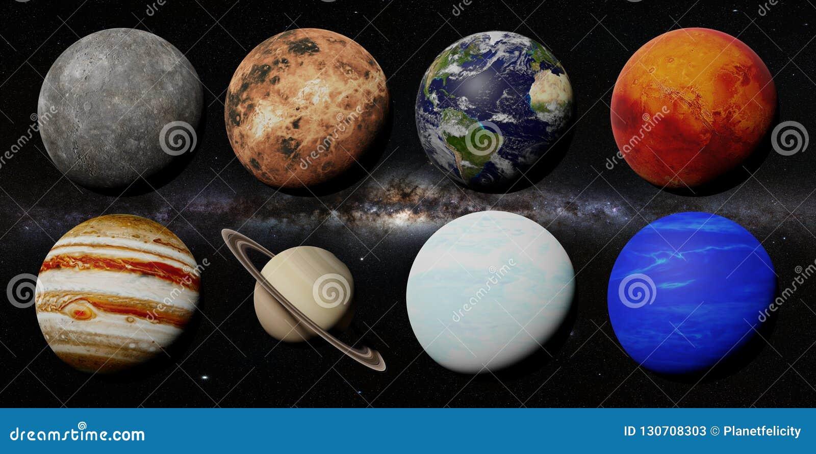 De planeten van het zonnestelsel voor de 3d ruimte die van de Melkwegmelkweg, worden elementen van dit beeld geleverd door NASA t
