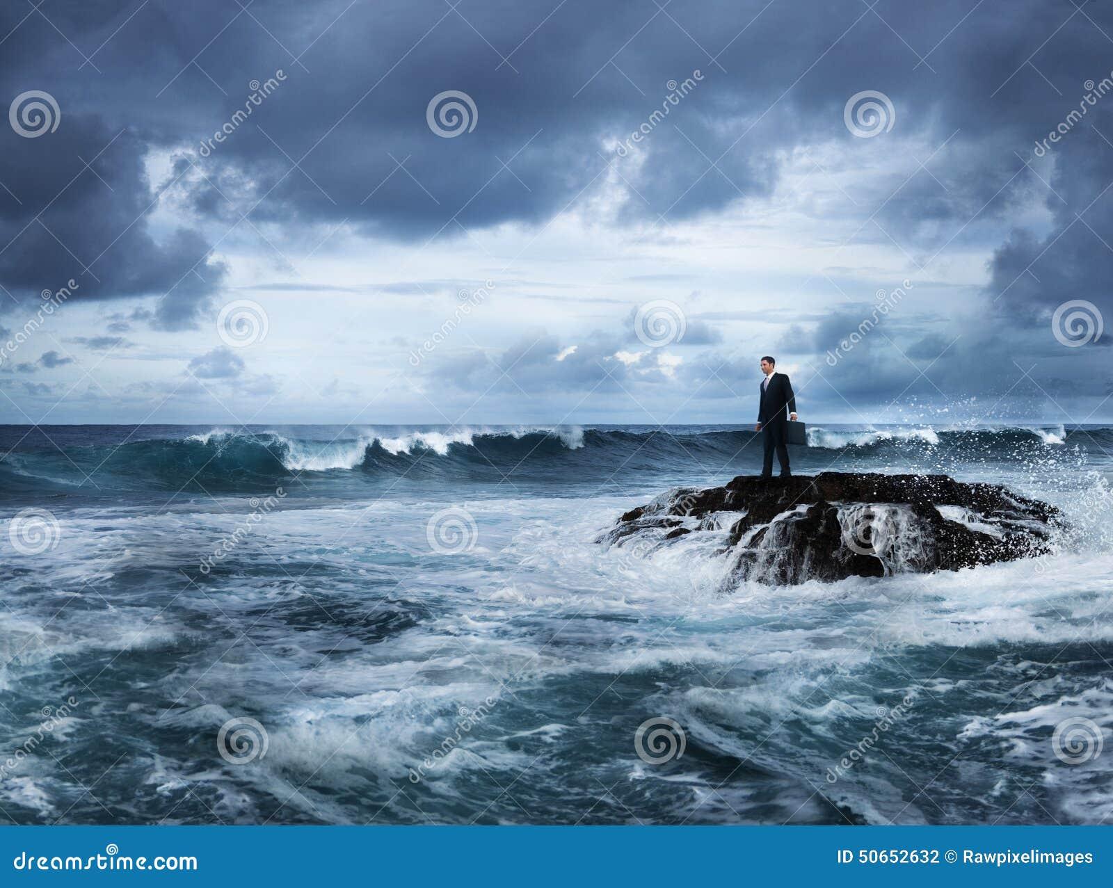 De Planning van zakenmanstaying alone island het Denken Concept