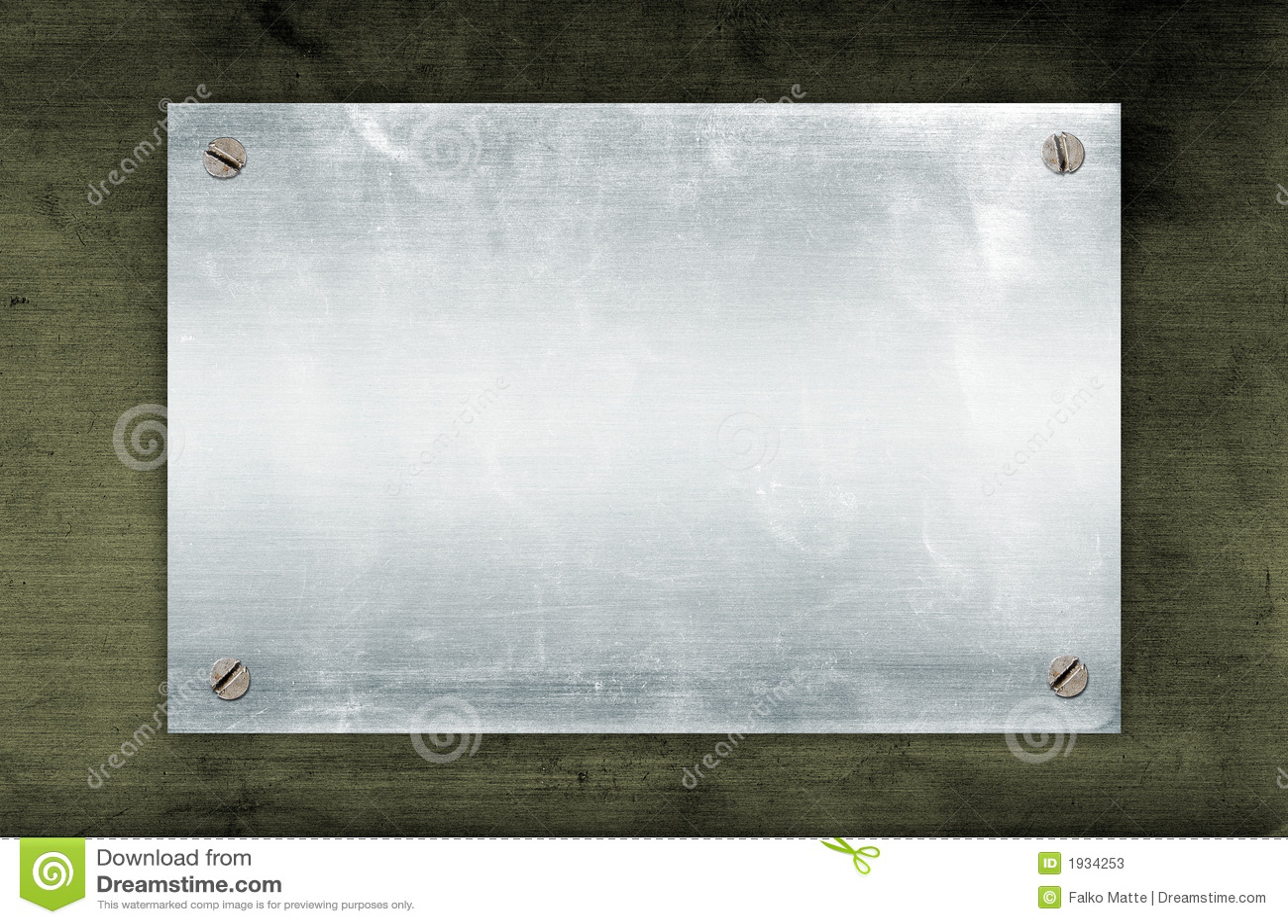 De plaque métallique vide