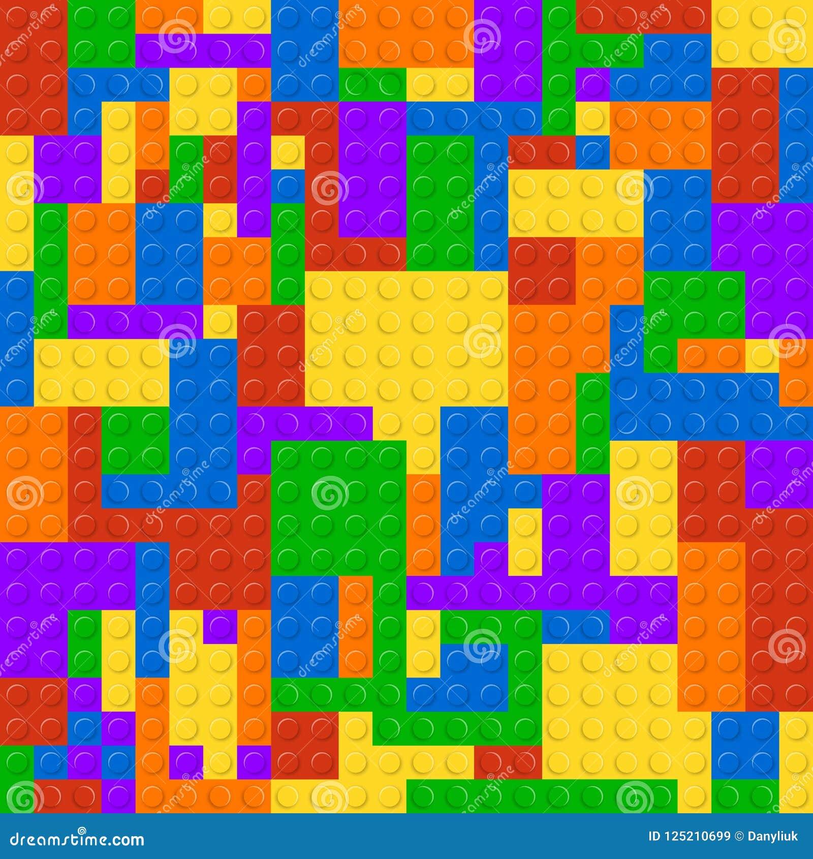 De plastic bouw blokkeert naadloze patroonachtergrond Het vectorstuk speelgoed van het de baksteenconcept van het illustratie kle