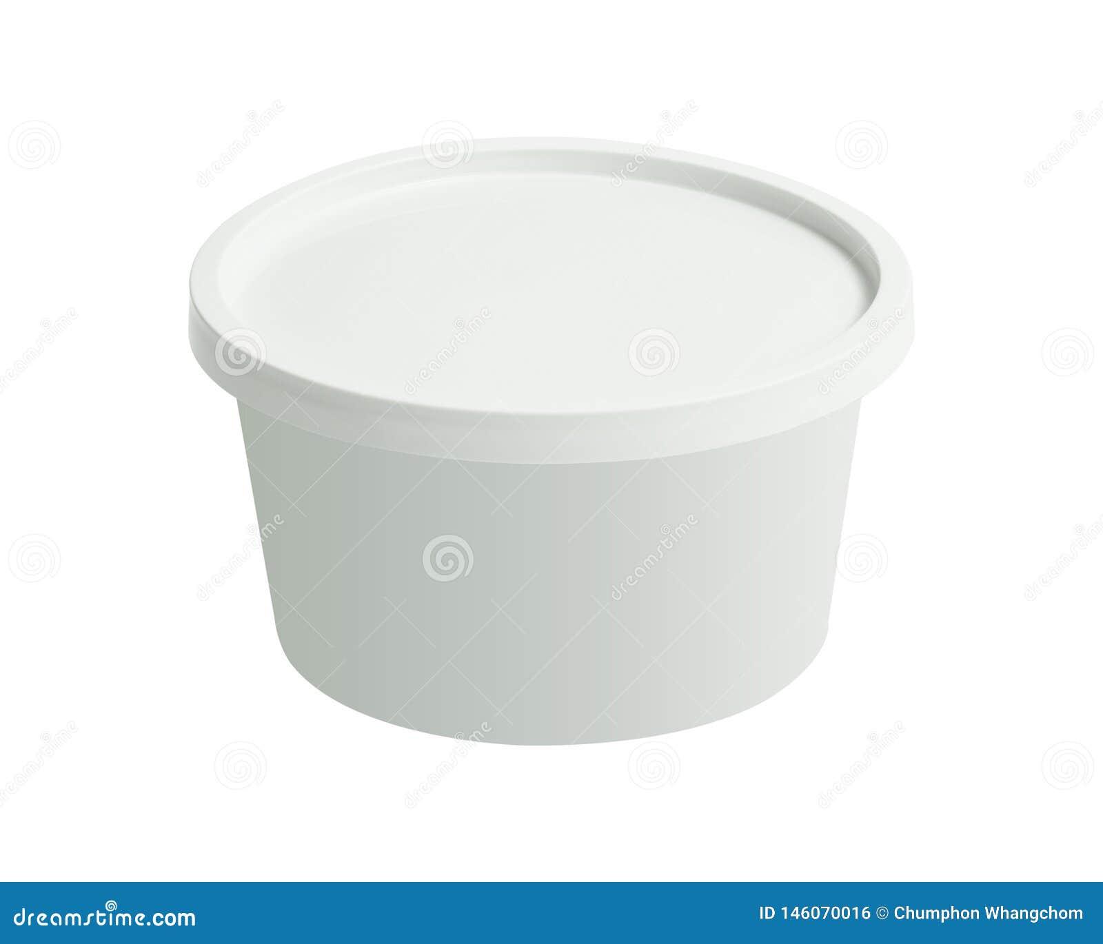 De plastic container van de tonemmer die op witte achtergrond wordt geïsoleerd Lege kop met dekkingsmalplaatje Knippende weg