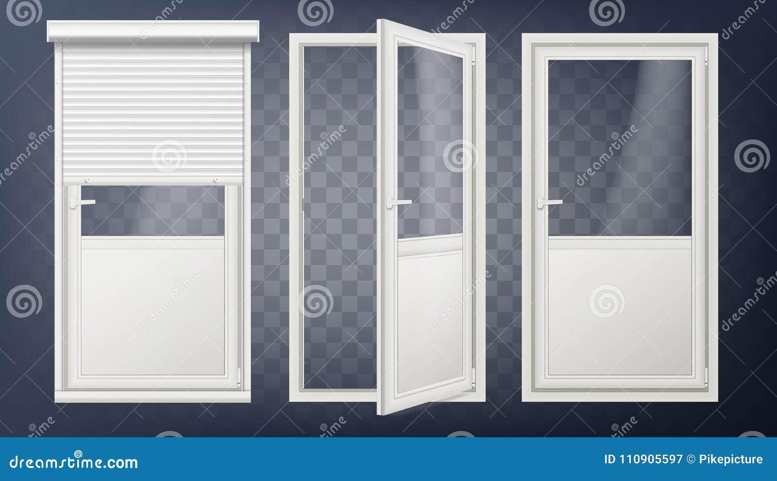 De plastic Vector van de Glasdeur Wit Rolblind Geopend en Gesloten Broodje op Blind Geïsoleerd op transparante achtergrond
