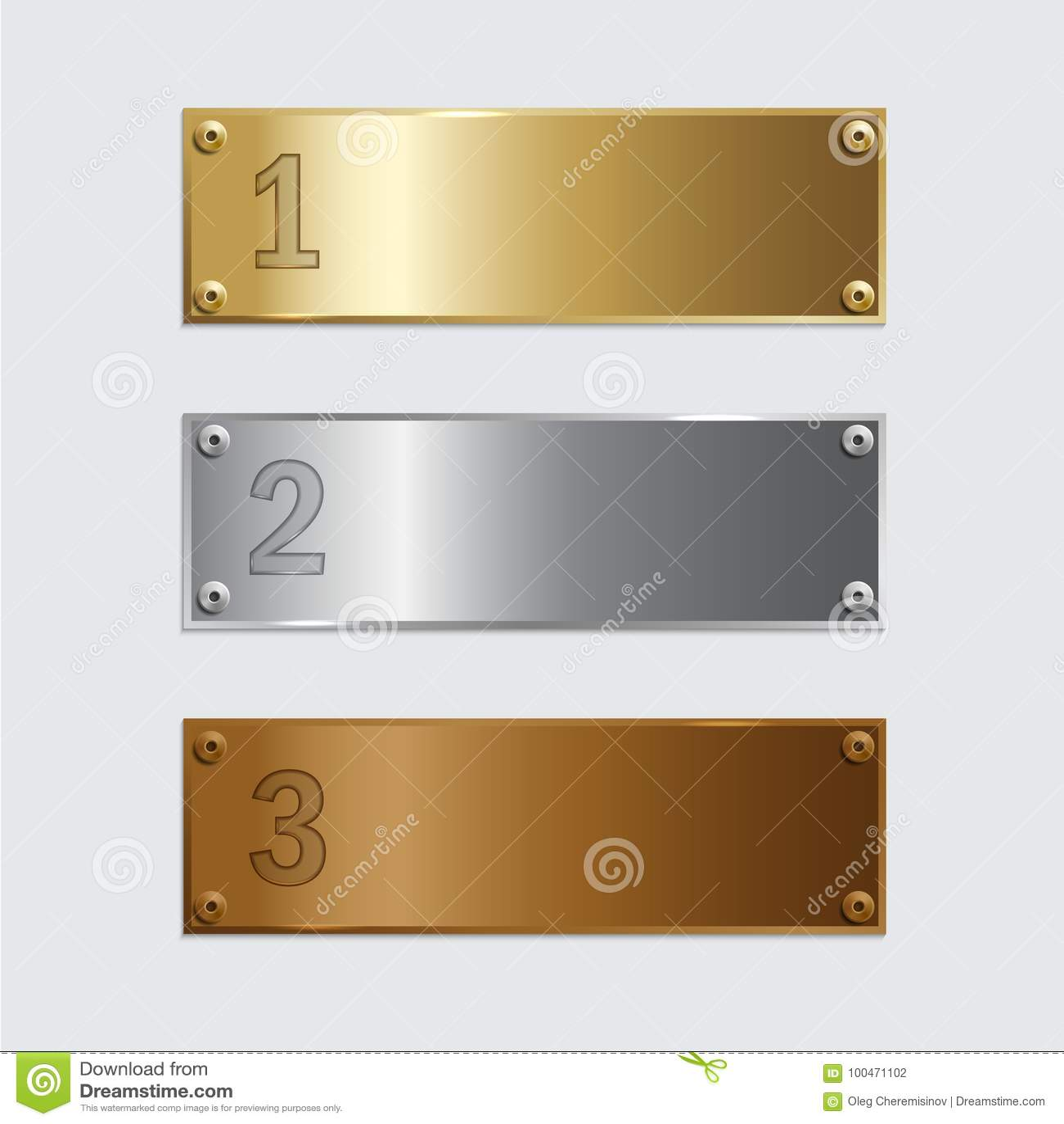 De platen van het gouden, zilveren die en bronspodium op grijze achtergrond worden geïsoleerd Vector illustratie